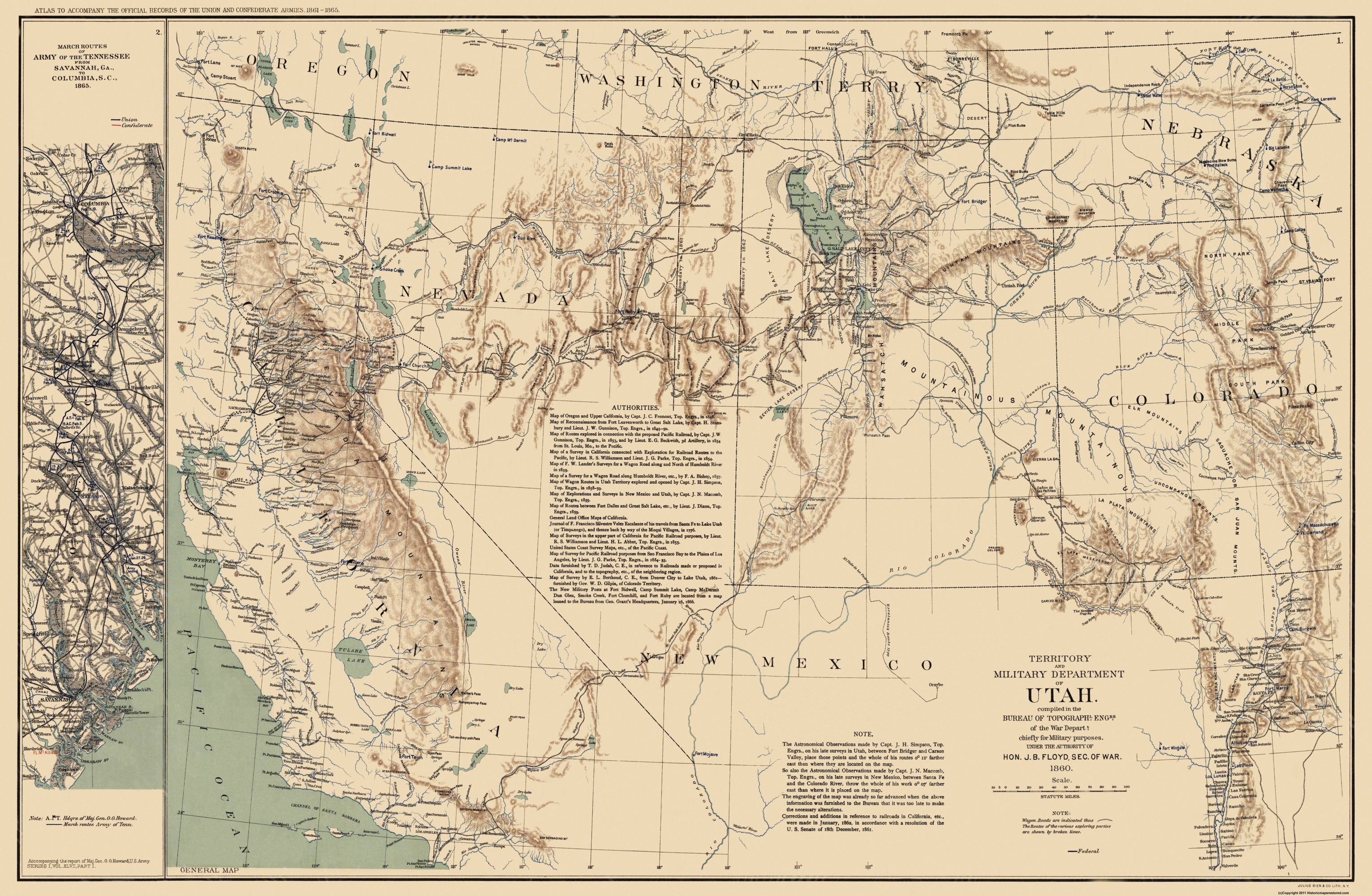 Old State Map Utah Territory US War Dept 1860