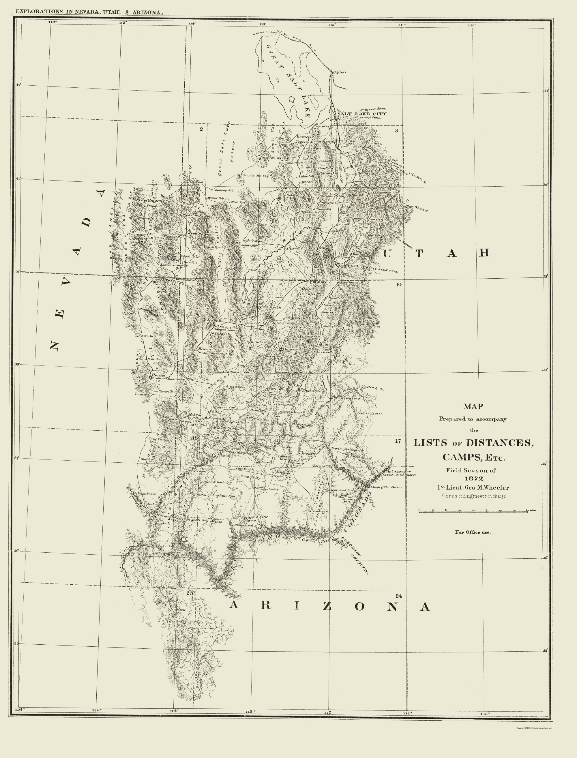 Map Of Arizona Utah.Topographical Map Nevada Utah Arizona Utah Geographical 1872 23 X 30 22