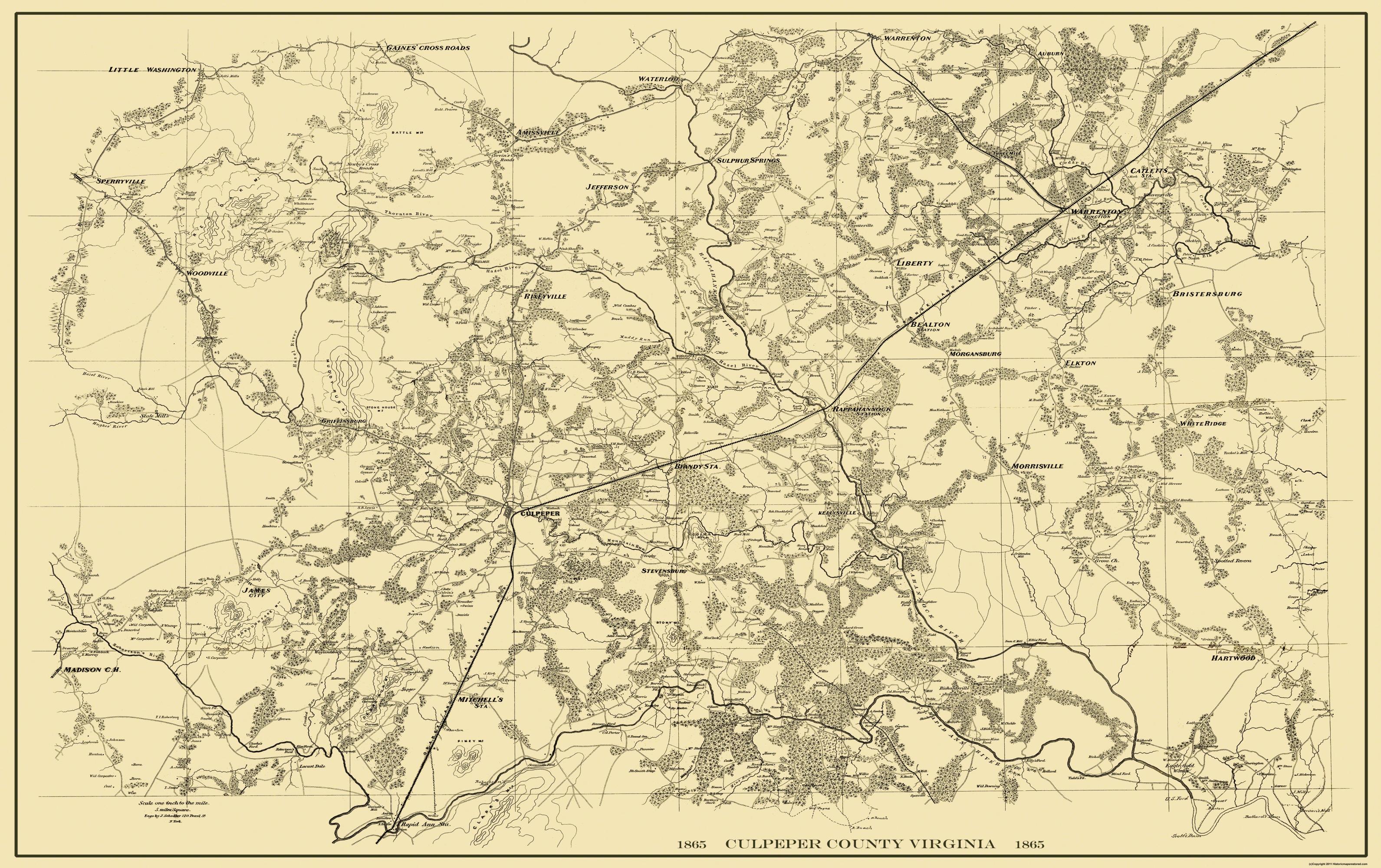 Old County Map Culpeper Virginia Landowner 1865