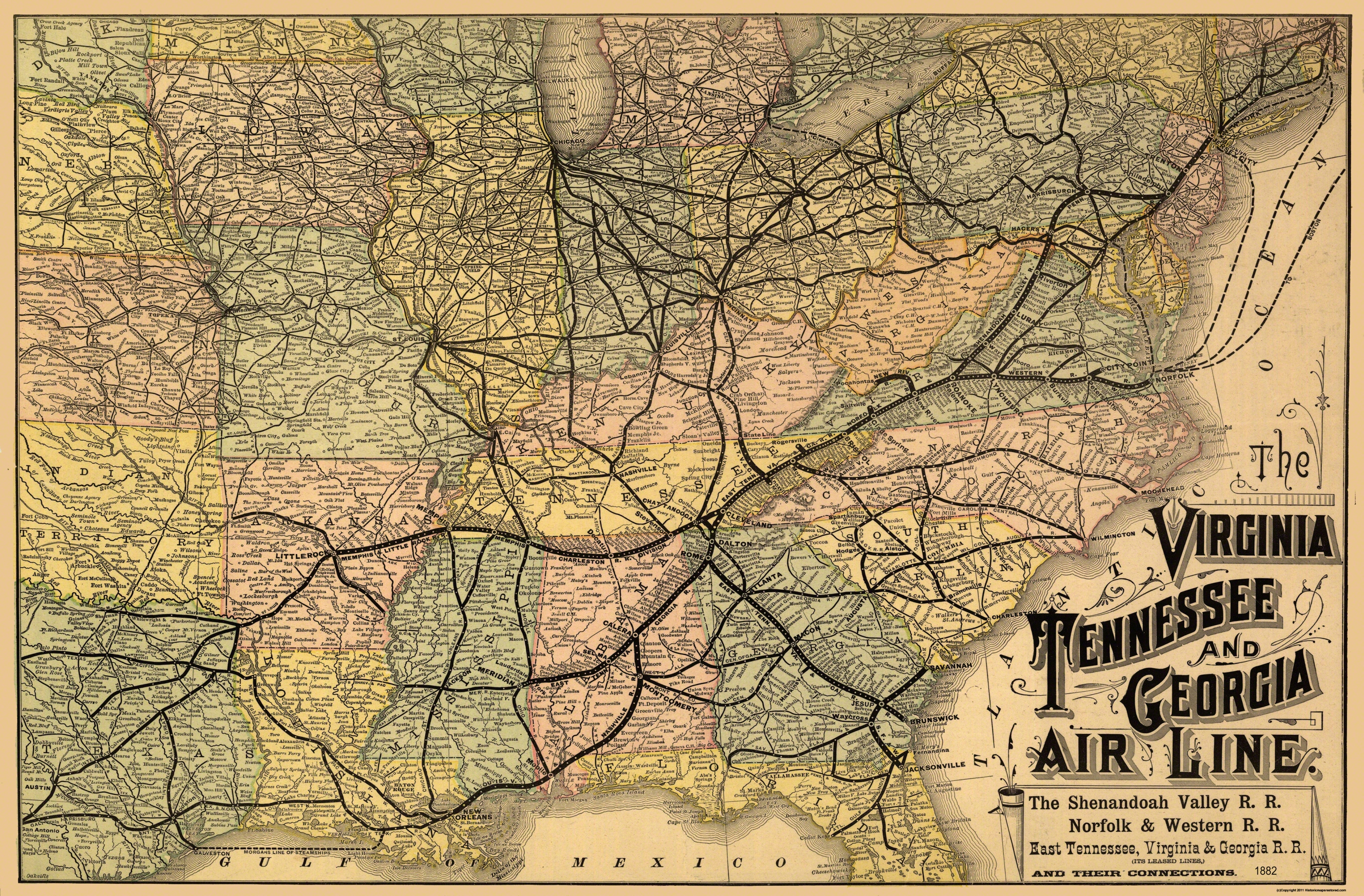 Old Railroad Map Virginia Tennessee Georgia 1882