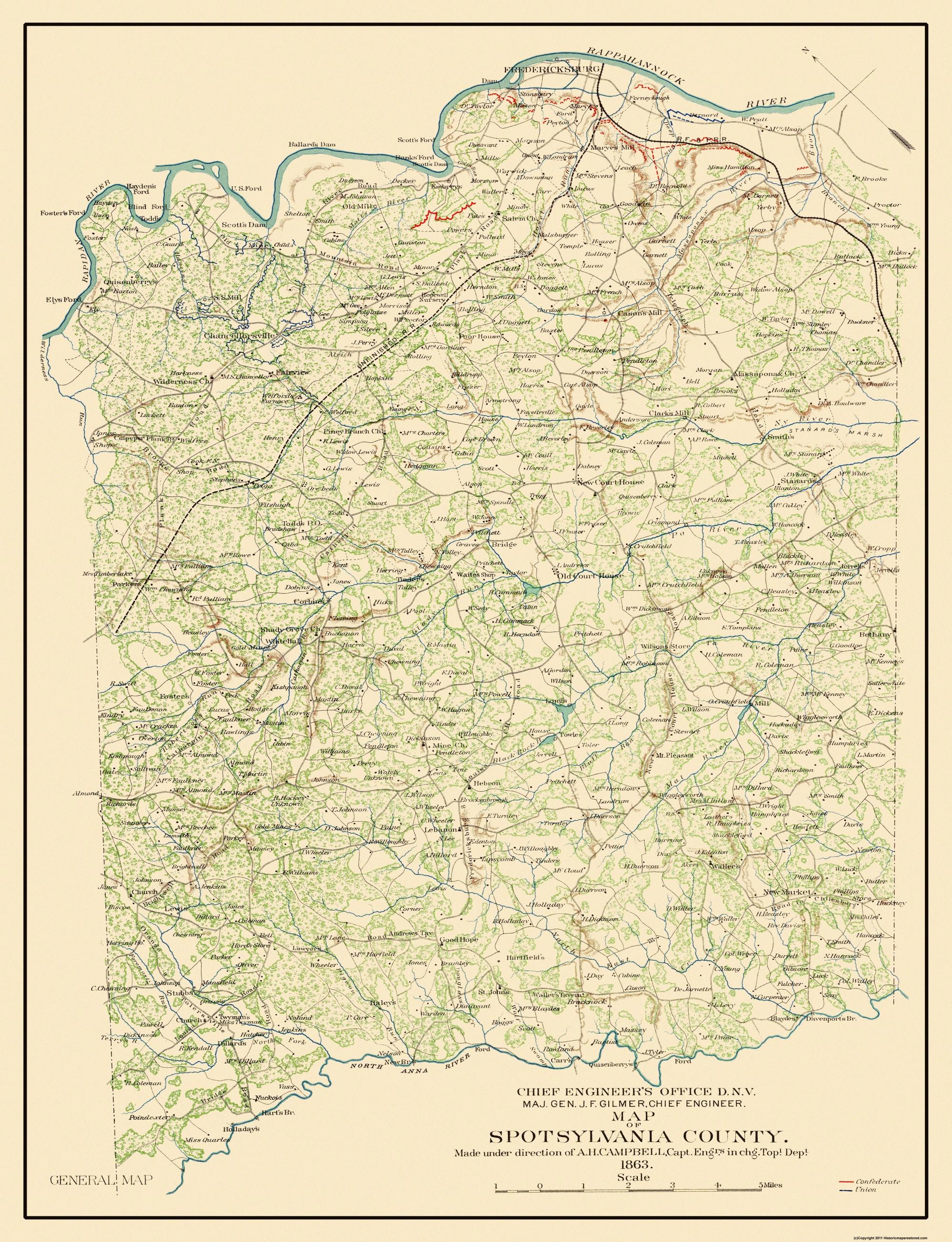 Old County Map Spotsylvania Virginia 1863