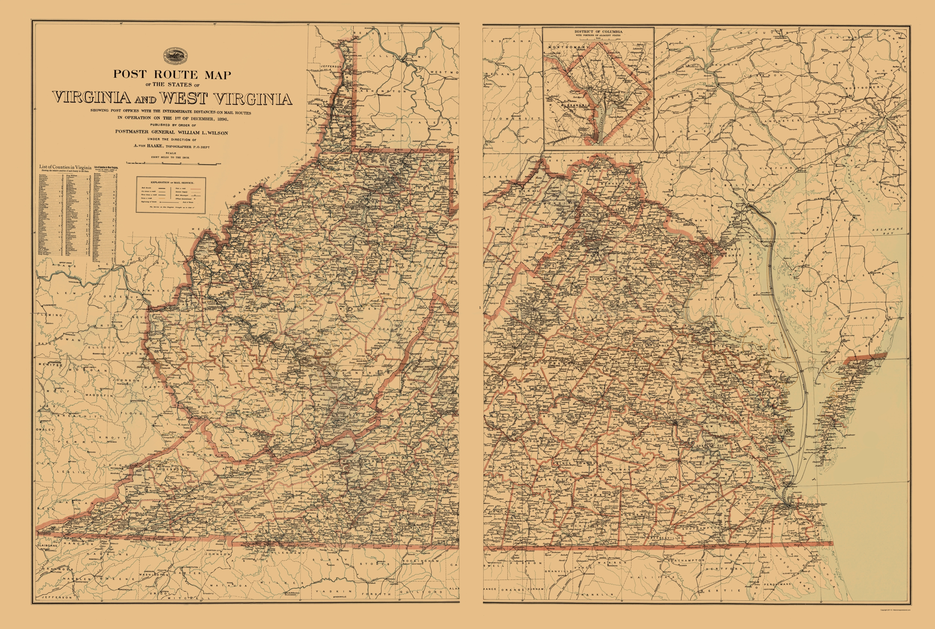 Old Map Virginia West Virginia Postal Routes 1896