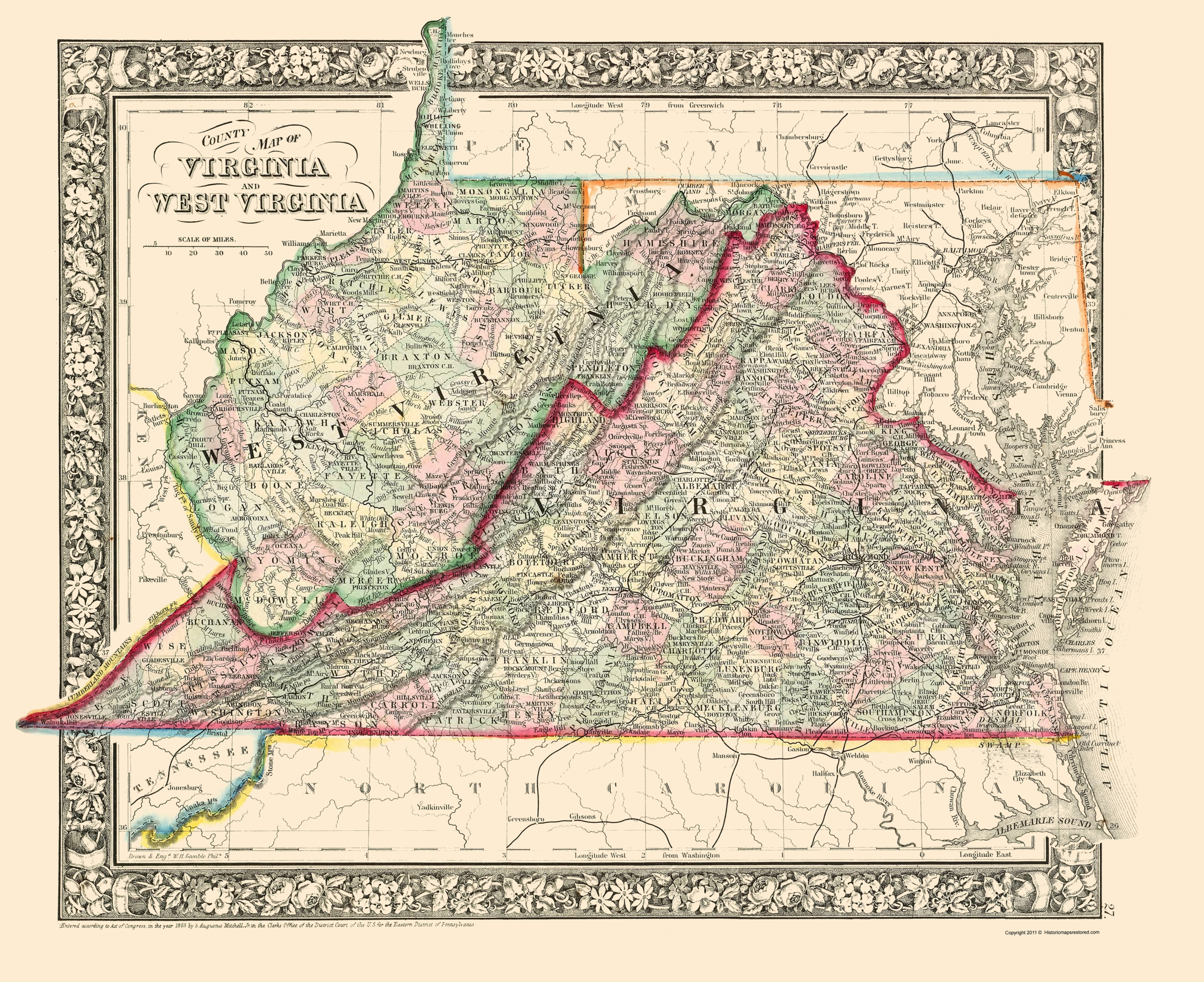 Old State Map - Virginia, West Virginia Counties 1863