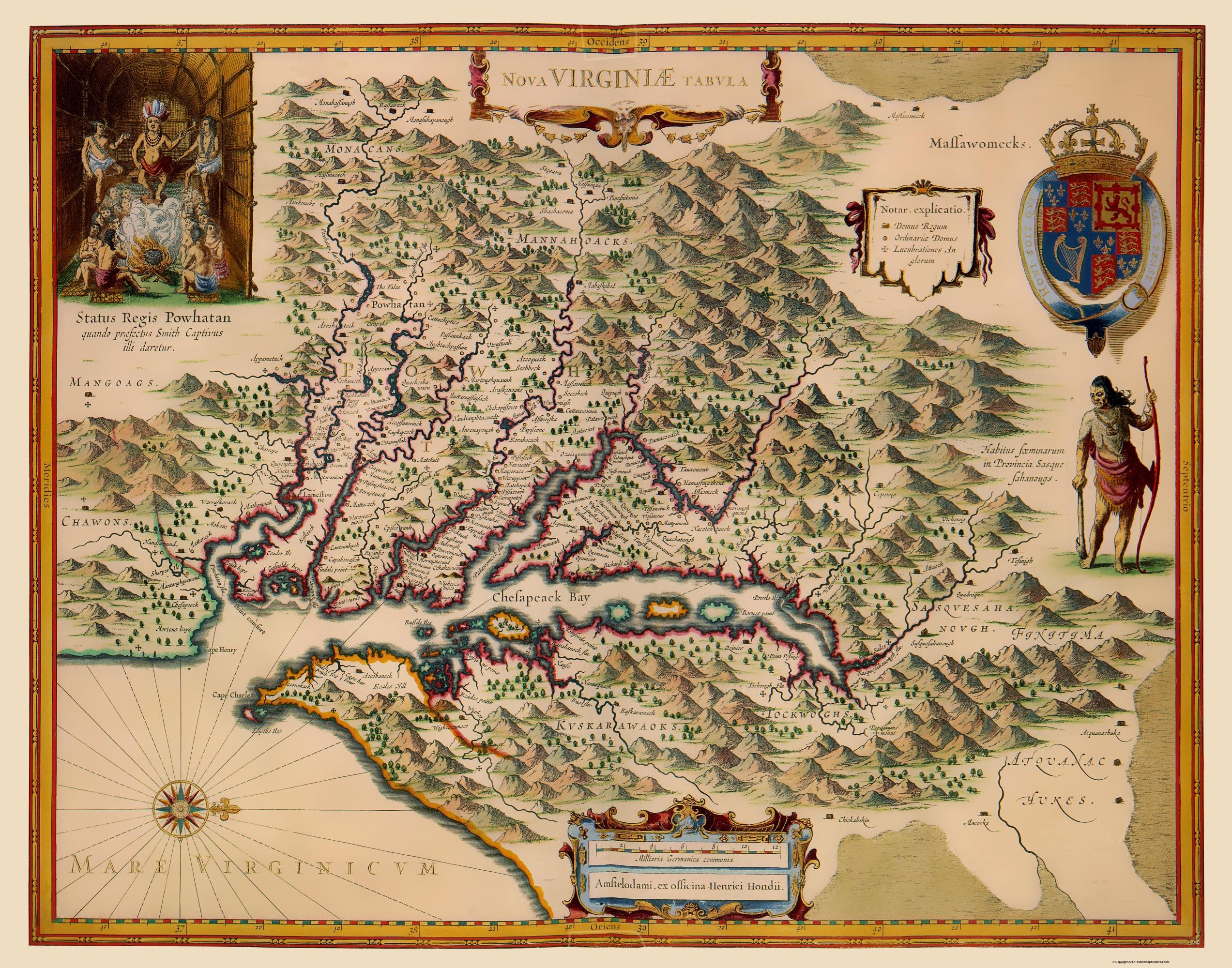 Old State Map - Virginia - Hondius 1633
