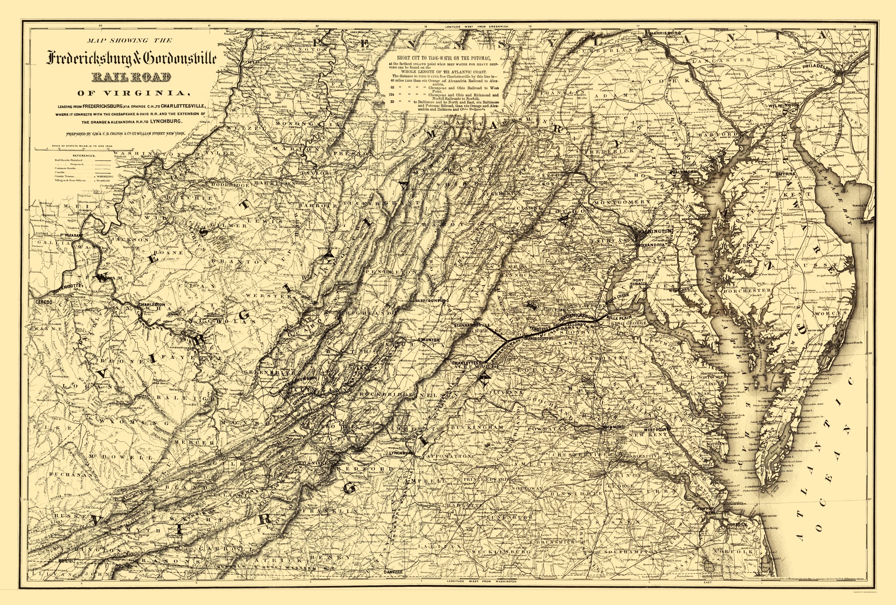 Old Map Fredericksburg Gordonsville Railroad 1869