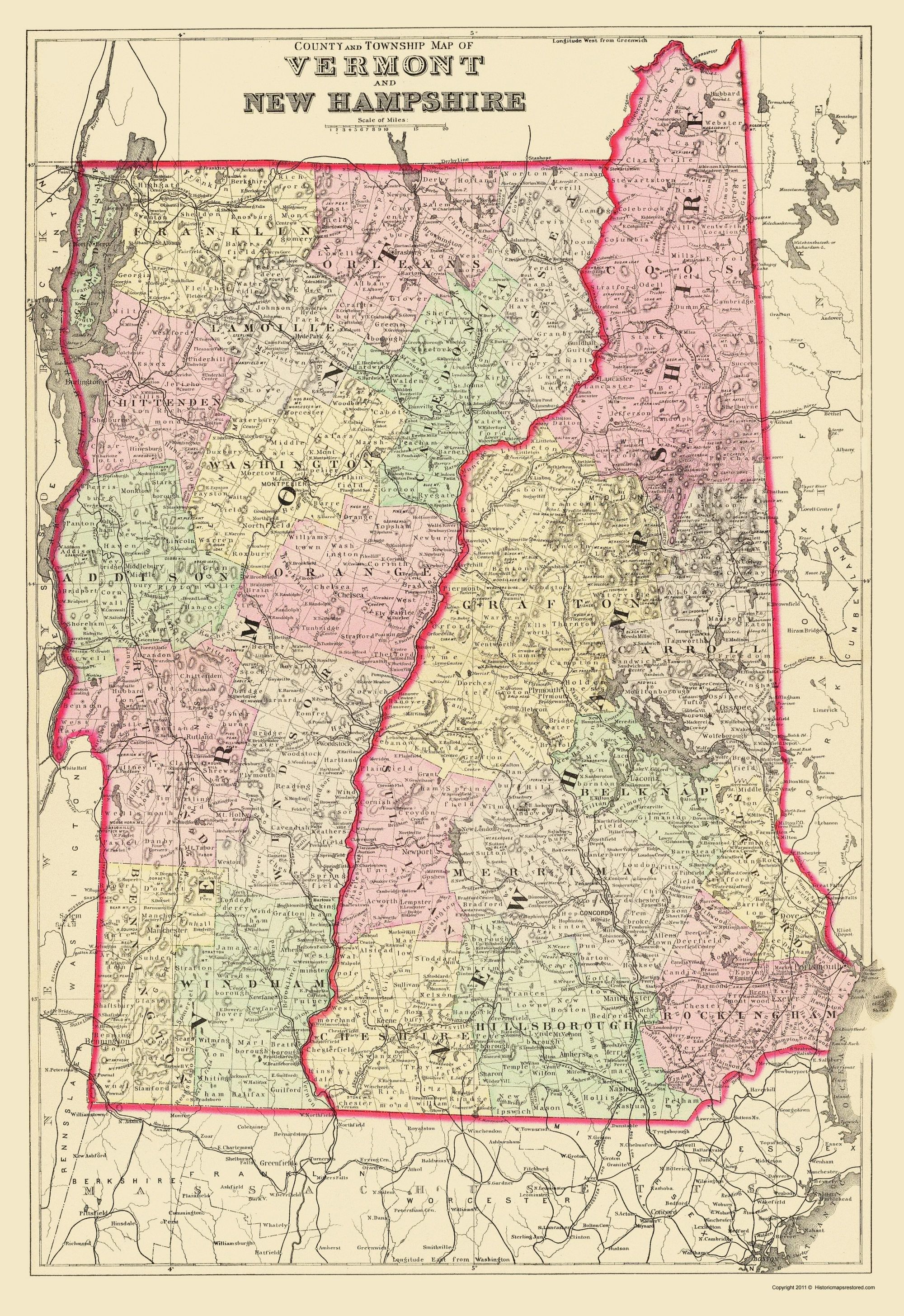 Old State Map Vermont New Hampshire Bradley 1882 23 X 33 46