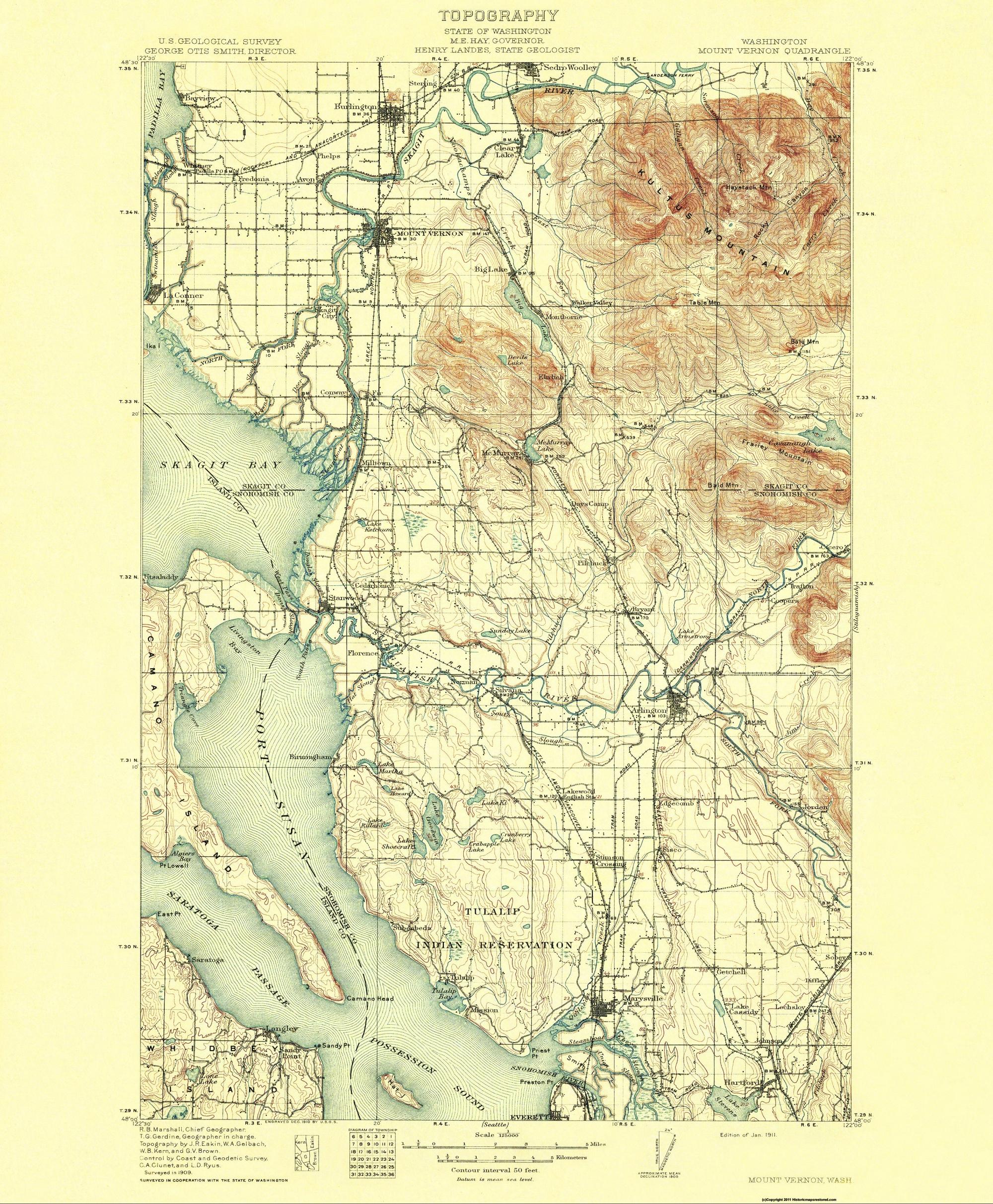 Mt Vernon Washington Map.Old Topographical Map Mt Vernon Washington 1911