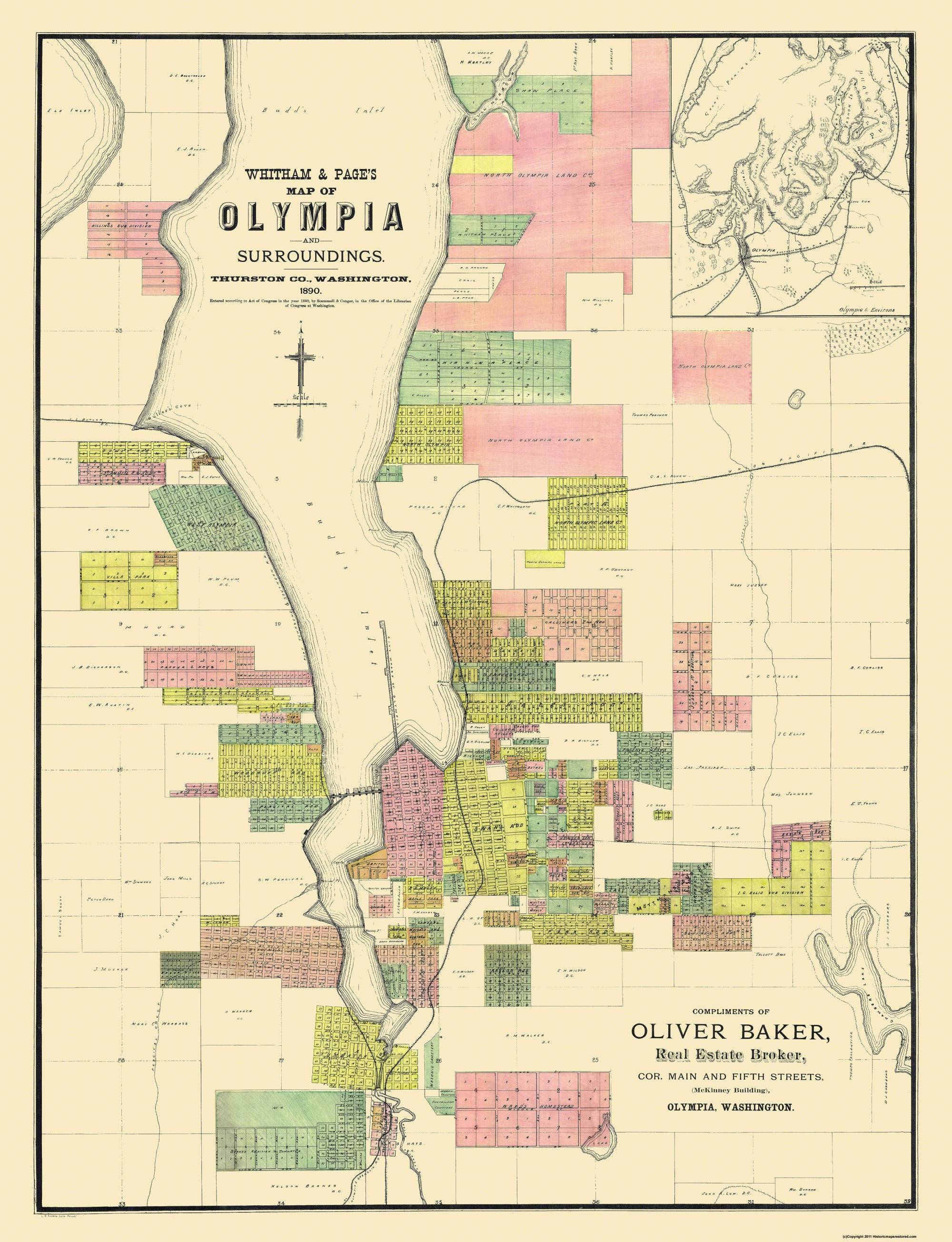 Old City Map - Olympia Washington Landowner - 1890