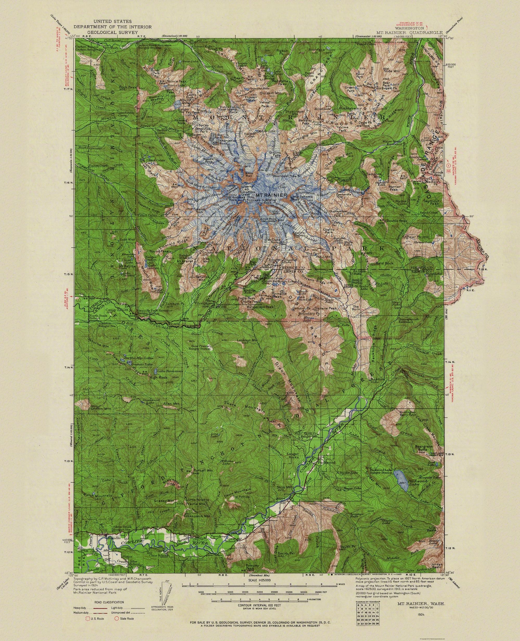 Mt Rainier Topographic Map.Old Topographical Map Mt Rainier Washington 1924