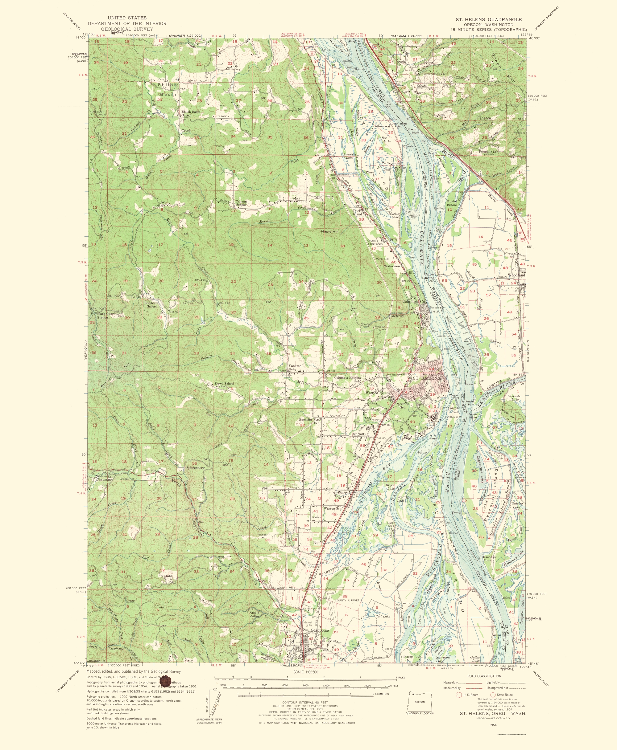 Topographical Map Mt St Helens Oregon Washington 1954