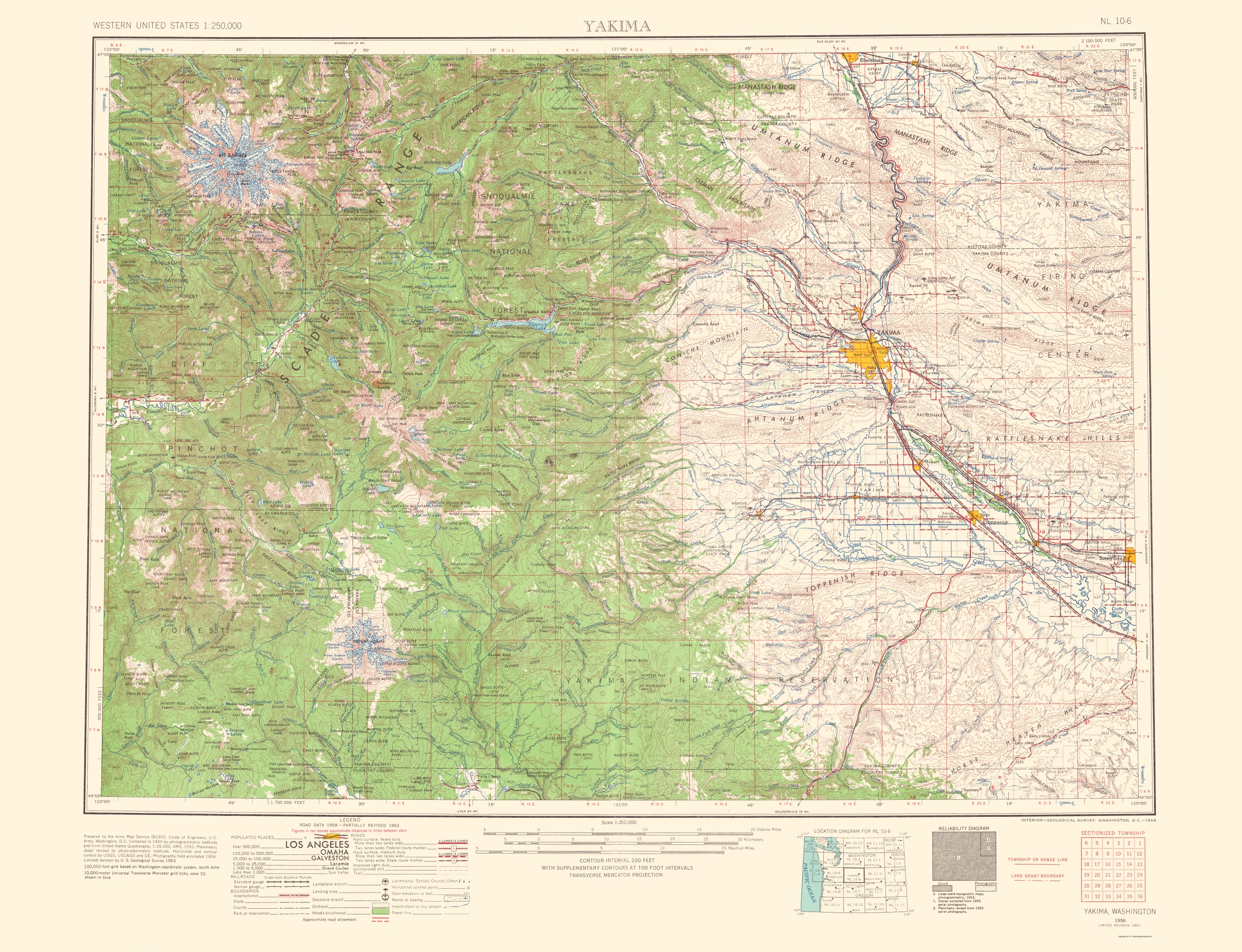 Old topographical map yakima washington 1958 double tap to zoom sciox Choice Image