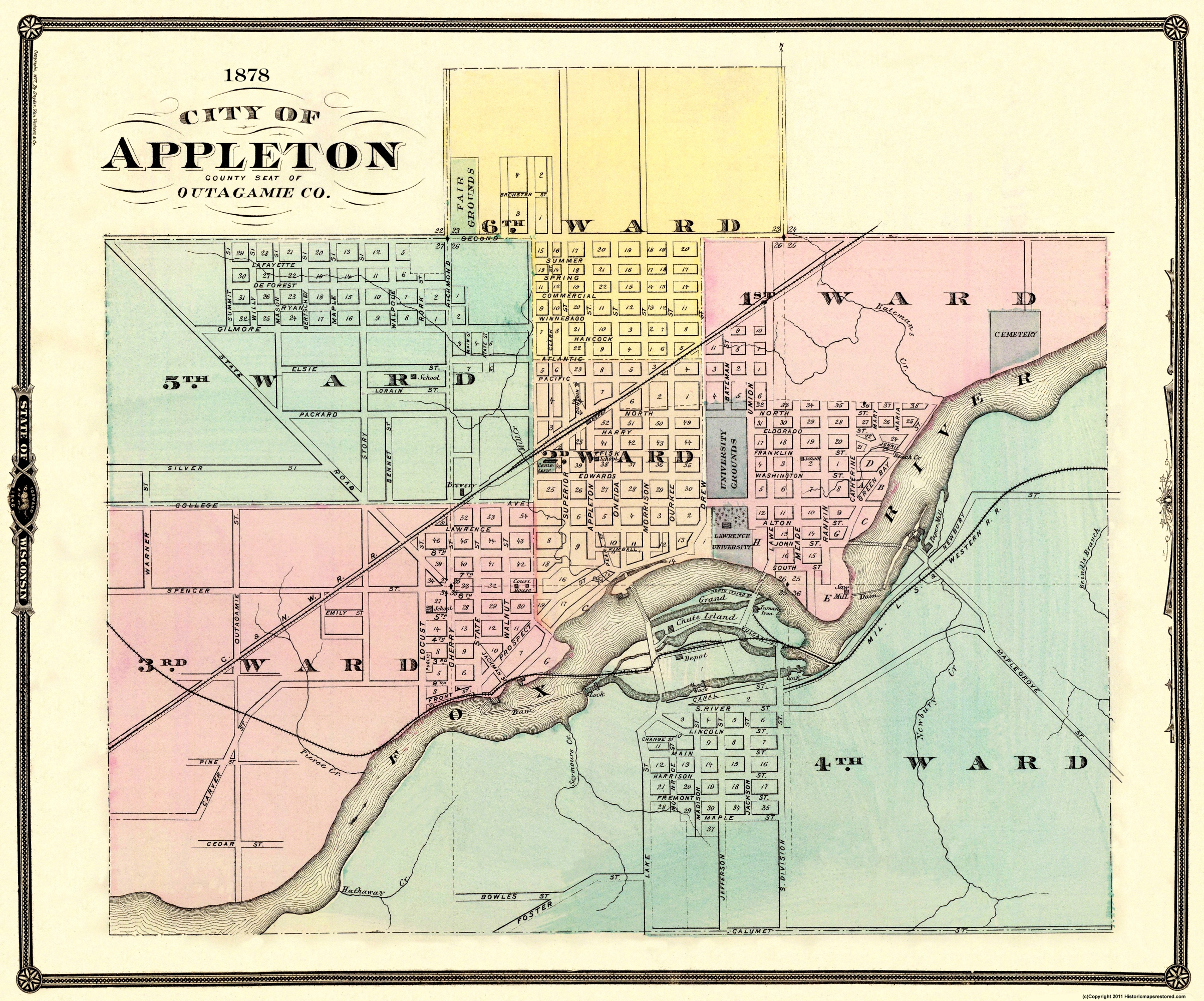 Old City Map Appleton Wisconsin 1878