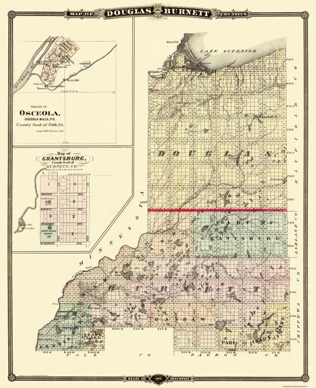 Old County Map - Douglas, Burnett Wisconsin - Snyder 1877 - 23 x 28.19