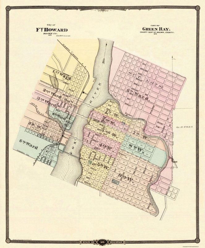 Ft Howard, Green Bay Wisconsin - Snyder 1877 - 23 x 27.75 on old maps of columbia county, old schools in st. croix county wi, old texas state map,