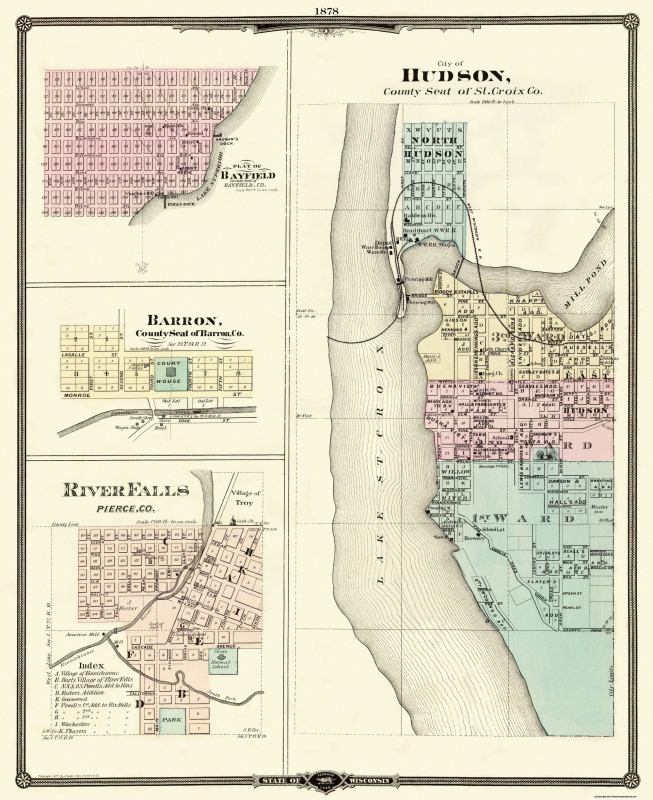 Hudson, Bayfield, River Falls Wisconsin - Snyder 1878 - 23 x 28.19 on old maps of columbia county, old schools in st. croix county wi, old texas state map,