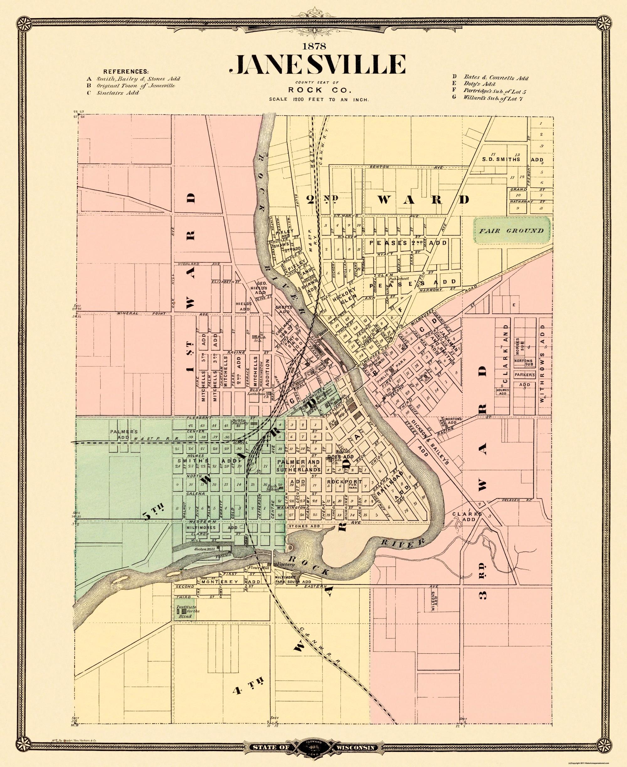 old city map janesville wisconsin landowner 1878