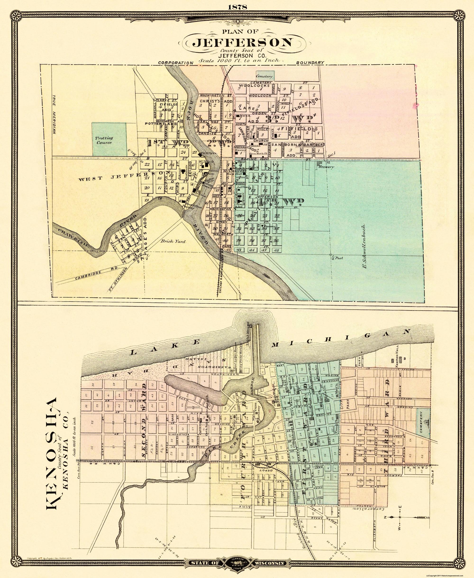 Old City Map Kenosha Jefferson Wisconsin 1878