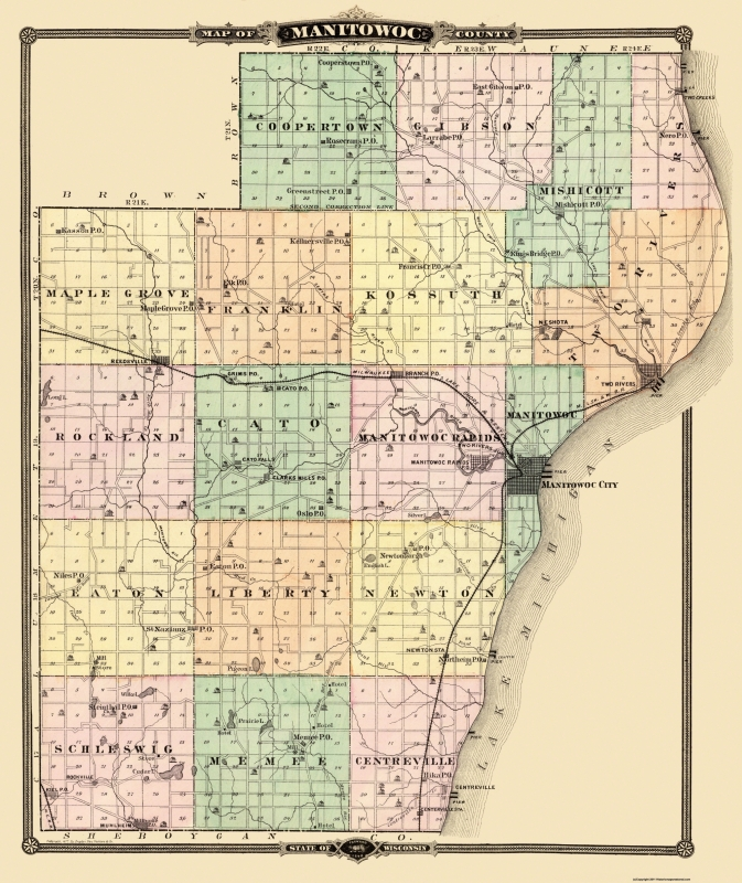 Old County Map - Manitowoc Wisconsin - Snyder 1878 - 23 x 27.38 on old maps of columbia county, old schools in st. croix county wi, old texas state map,