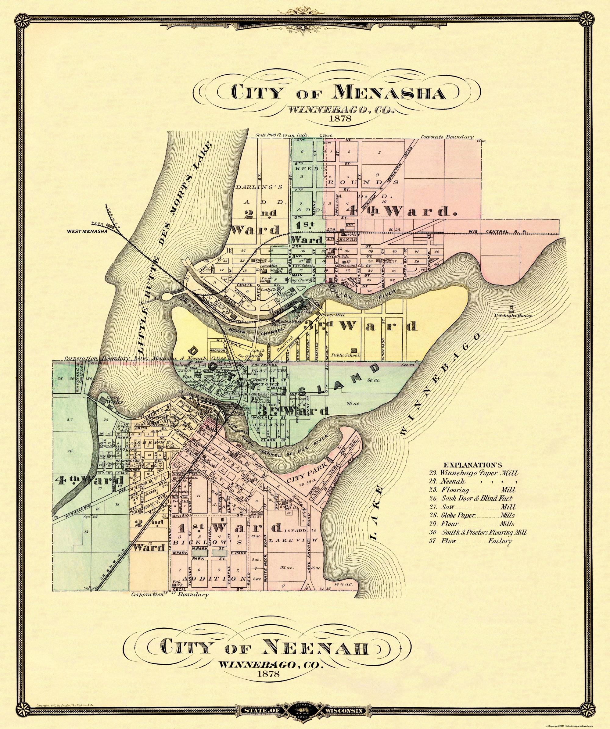 Old City Map Menasha Neenah Wisconsin 1878