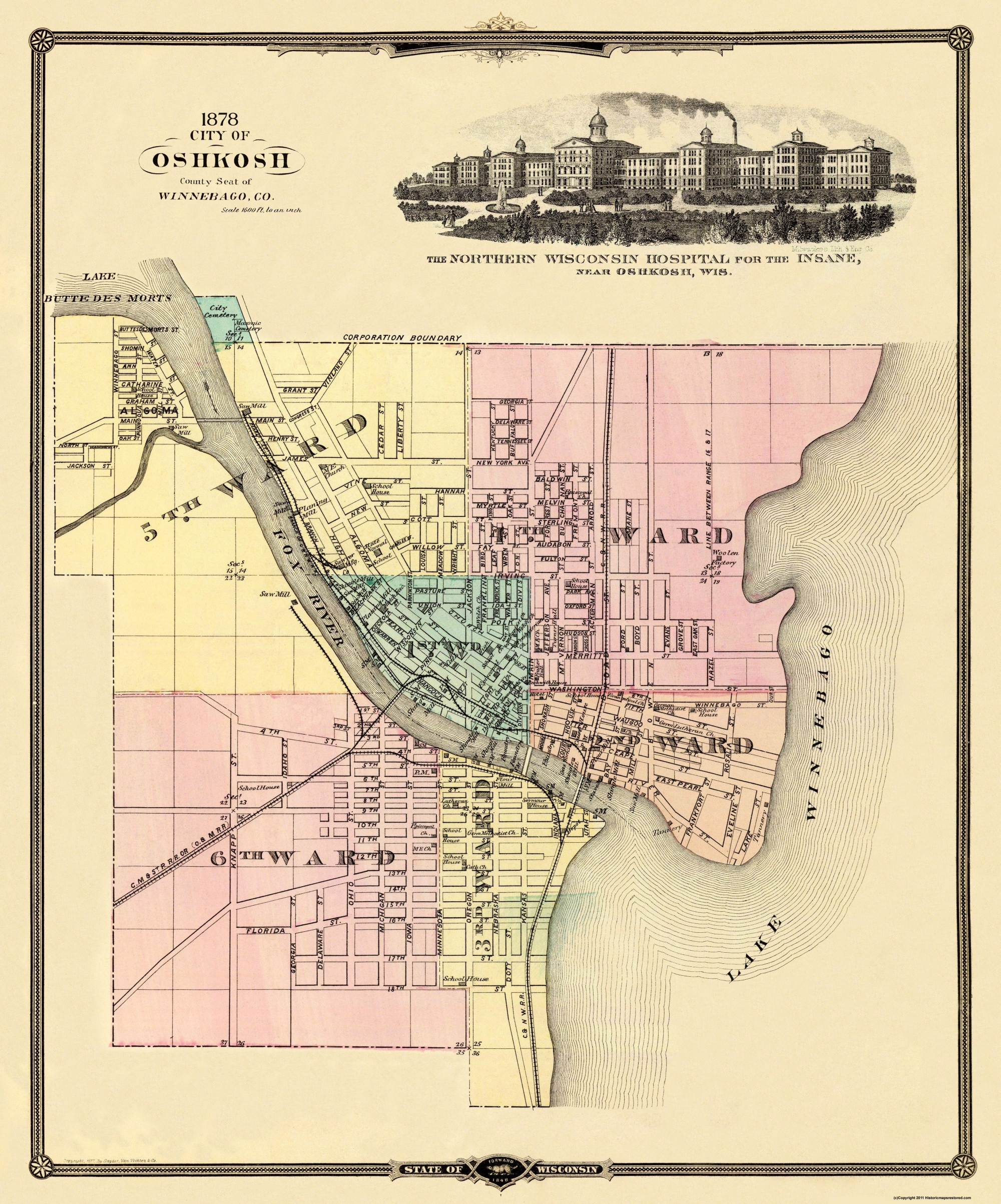 Old City Map Oshkosh Wisconsin 1878