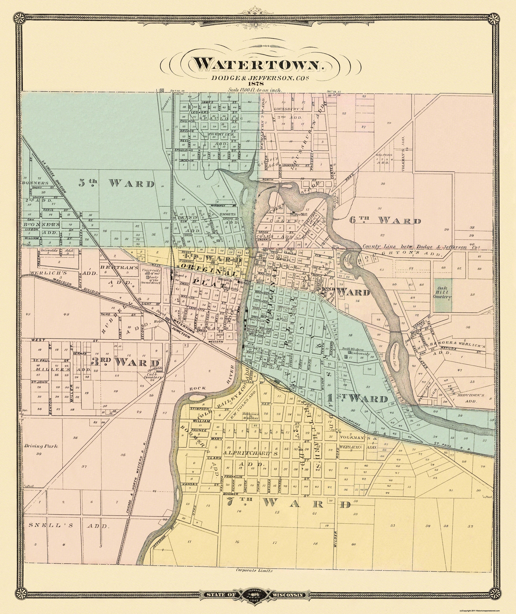 Old City Map - Watertown Wisconsin - 1878 City Map Of Wisconsin on