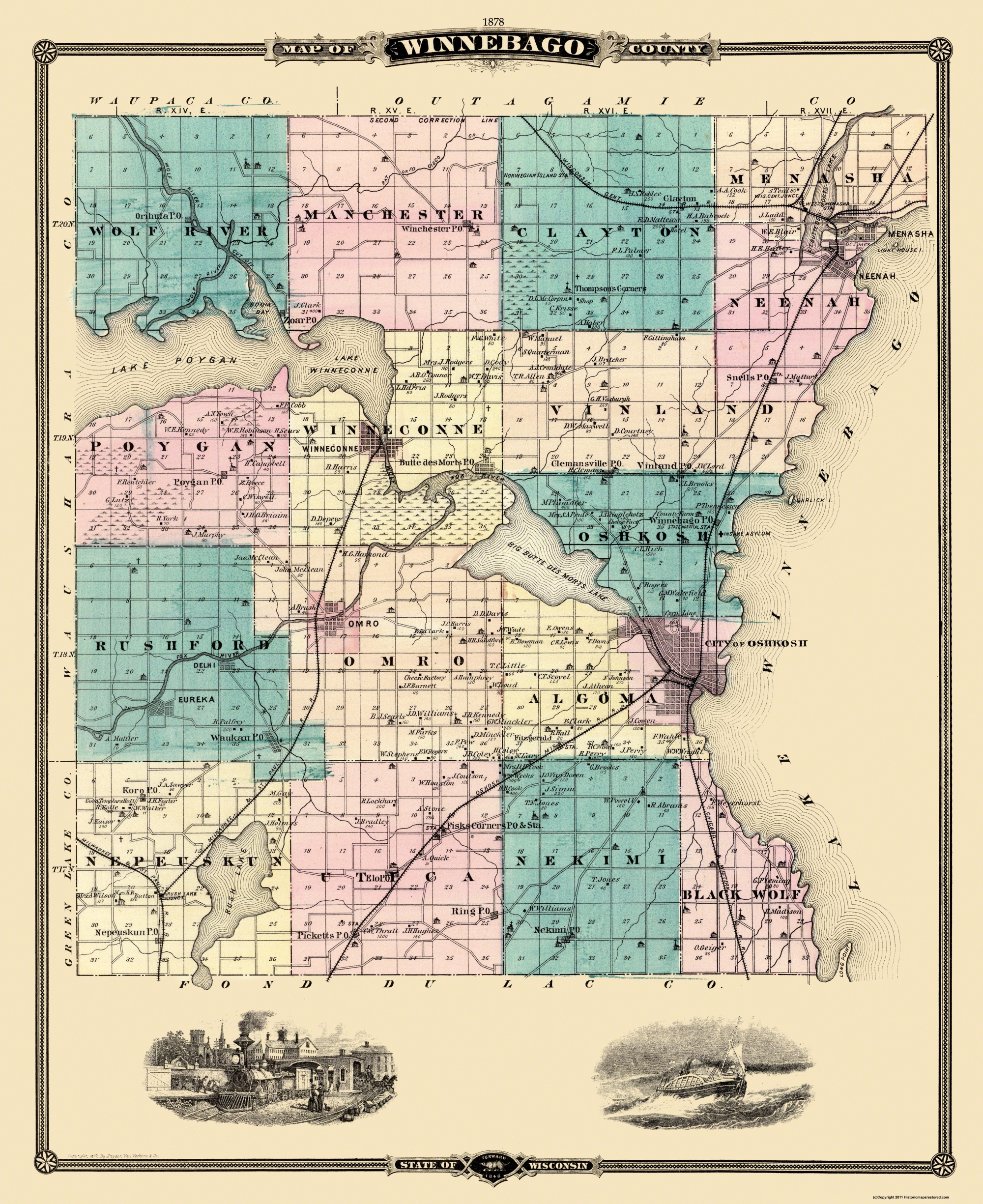 Old County Map Winnebago Wisconsin Landowner 1878