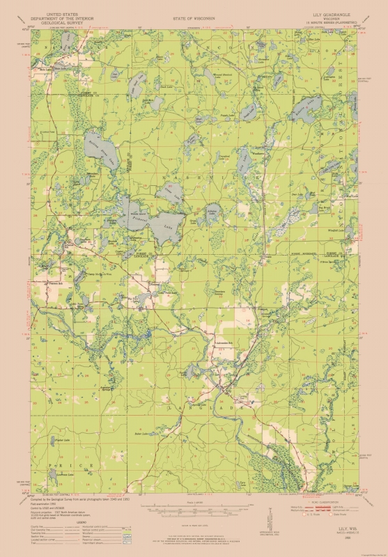 Topographic Map - Wisconsin State Quad - USGS 1950 - 23 x 33.03 on