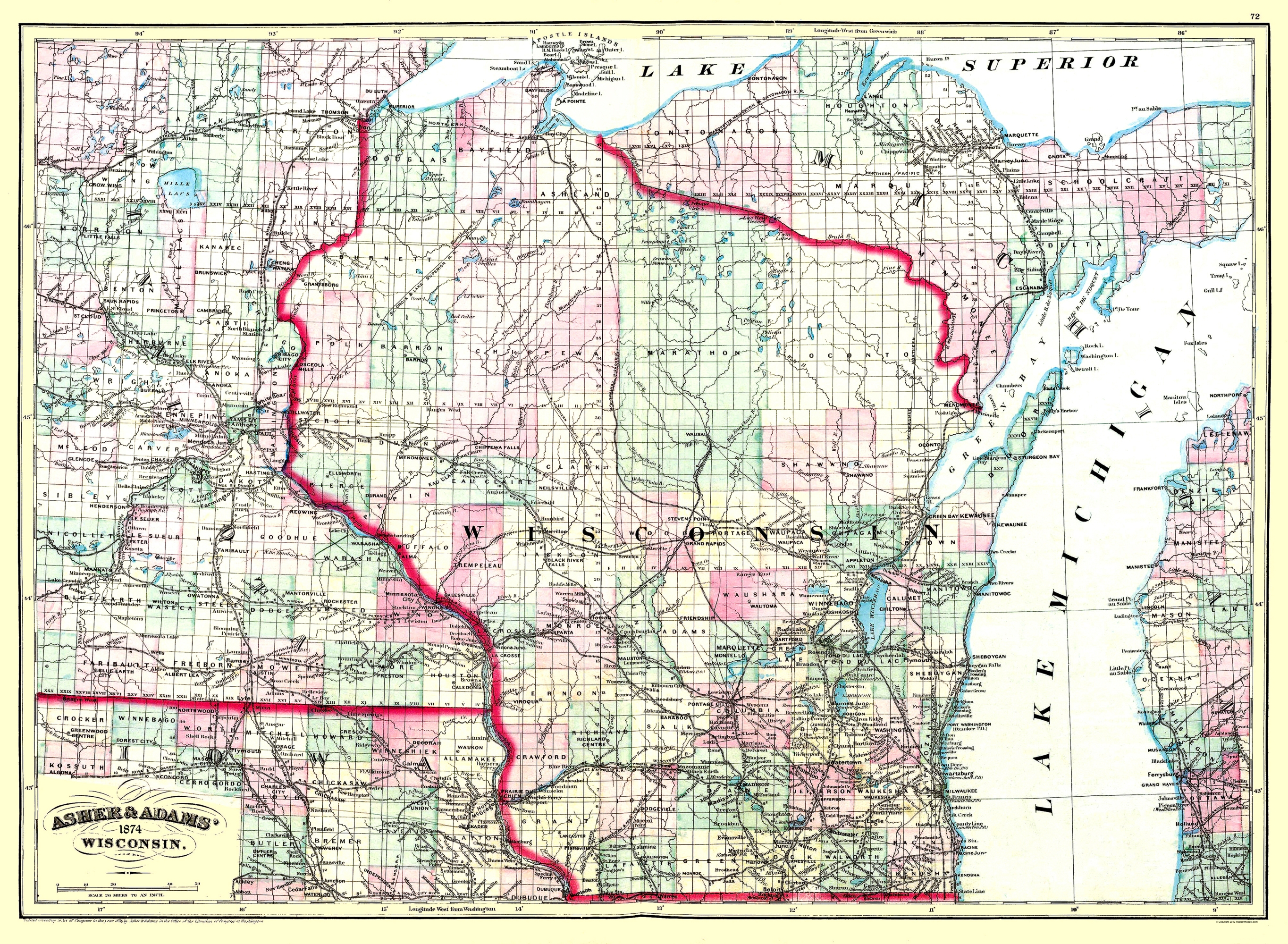 Old State Map Wisconsin Asher and Adams 1874