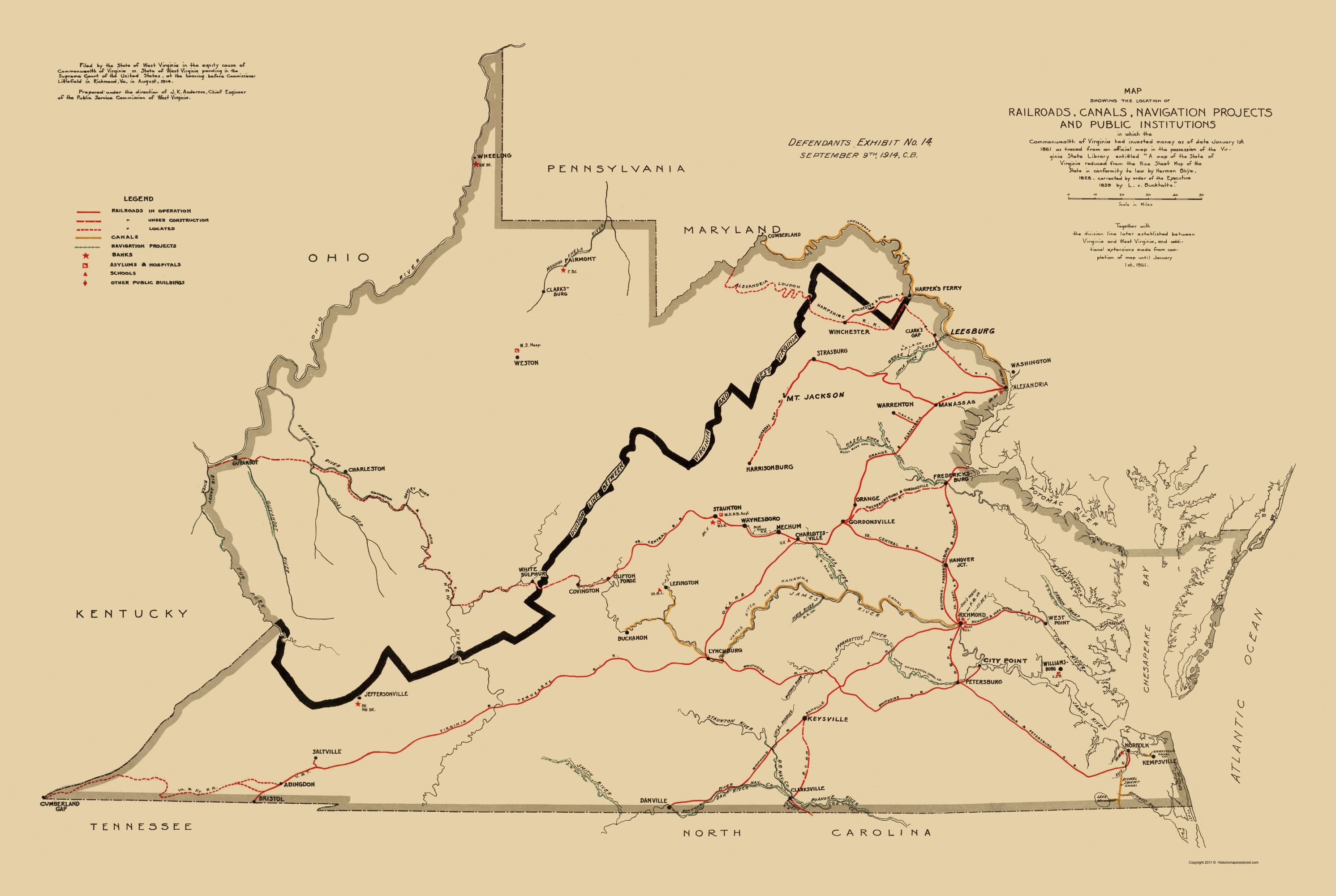Old Map - Defendant Exhibit West Virginia V Virginia 1914