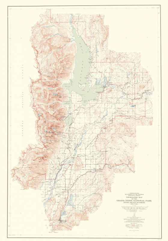Topographical Map - Grand Teton National Park Wyoming - USGS 1948 - on devils tower map, olympic national park, beartooth mountains map, wind river range map, united states map, usa map, montana map, rocky mountain national park, california map, jackson hole, arches national park, redwood national park map, yellowstone national park, mesa verde national park, badlands national park, wyoming map, kings canyon national park map, bryce canyon map, sequoia national park map, grand canyon national park, denali national park and preserve map, glacier national park, amistad national recreation area map, teton crest trail map, idaho map, acadia national park, rocky mountains, devils tower national monument, sequoia national park, yellowstone map, teton range map, national mall and memorial parks map, yosemite national park, zion national park, teton range, teton fault map, snake river, bryce canyon national park, canyonlands national park,