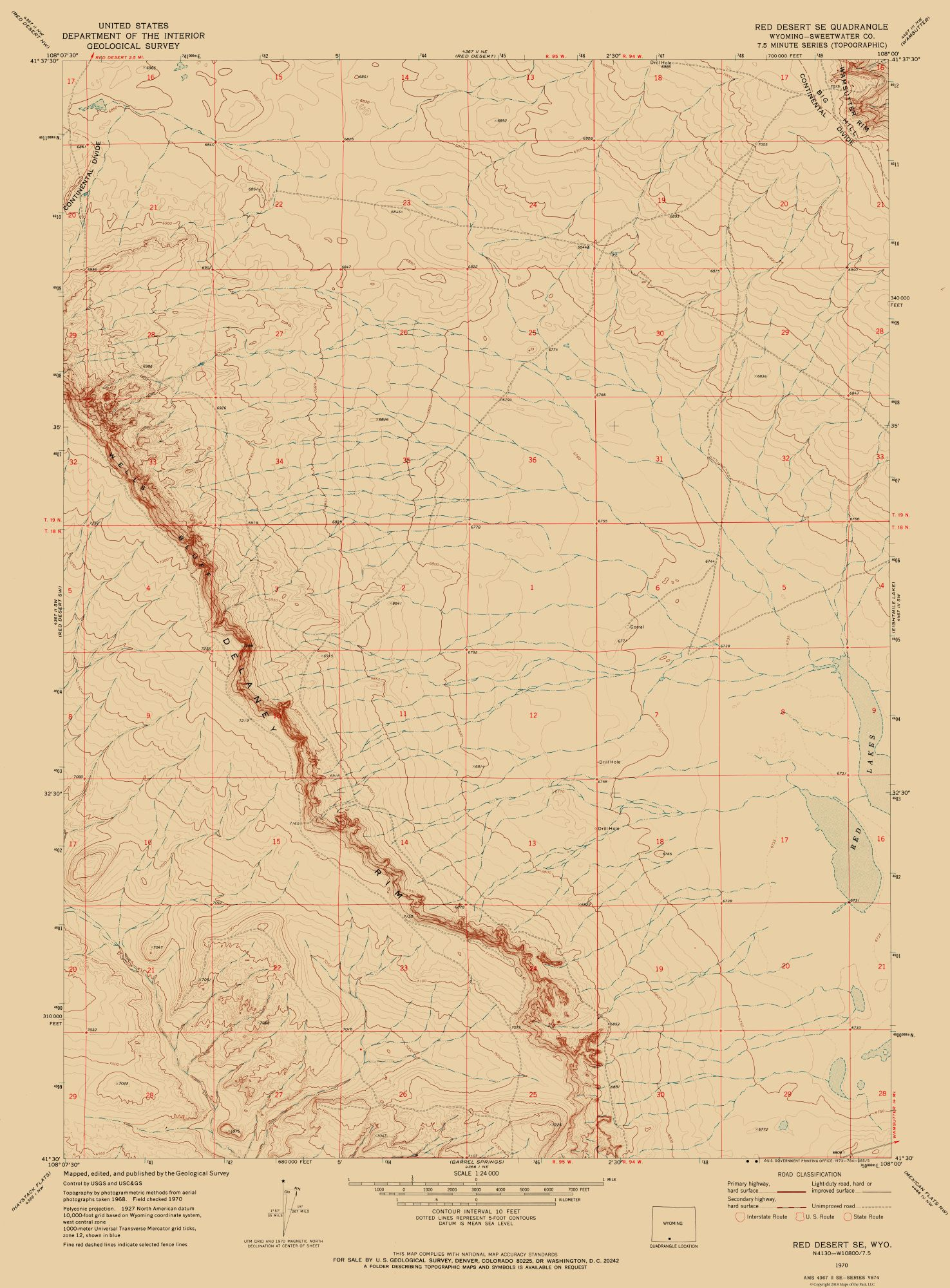 Historical Topographical Maps South East Red Desert Wyoming Quad