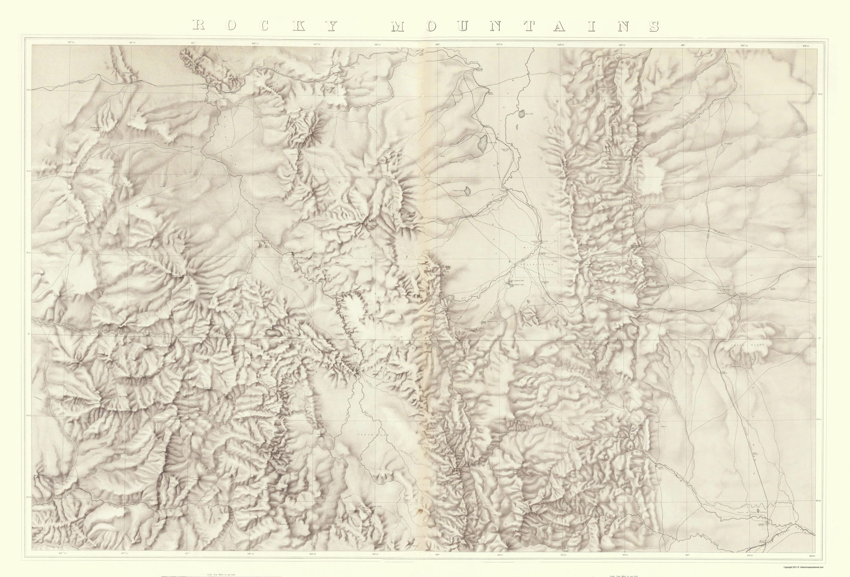 Rocky Mountains Wyoming Map.Old Topographical Map Rocky Mountains Wyoming 1876
