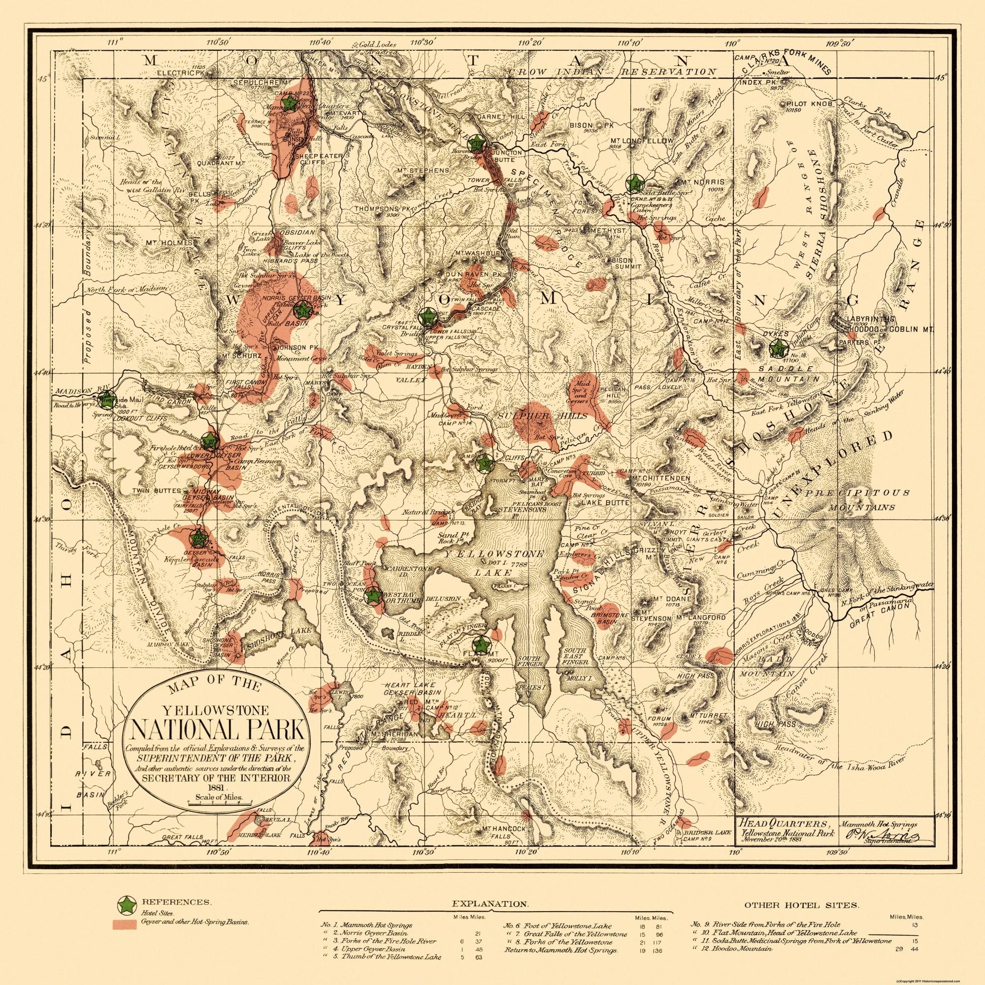 Yellowstone National Park - US Interior 1881 - 23 x 23 on willamette river map usa, chicago map usa, montana map usa, st. louis map usa, idaho map usa, wyoming map usa, black hills map usa, cheyenne map usa, mount mckinley map usa, utah map usa, united states map usa, national park service map usa, clearwater national forest map usa, austin map usa, yellowstone river map usa, olympic mountains map usa, boise map usa, yale university map usa, evansville map usa, mt. rainier national park on map of usa,