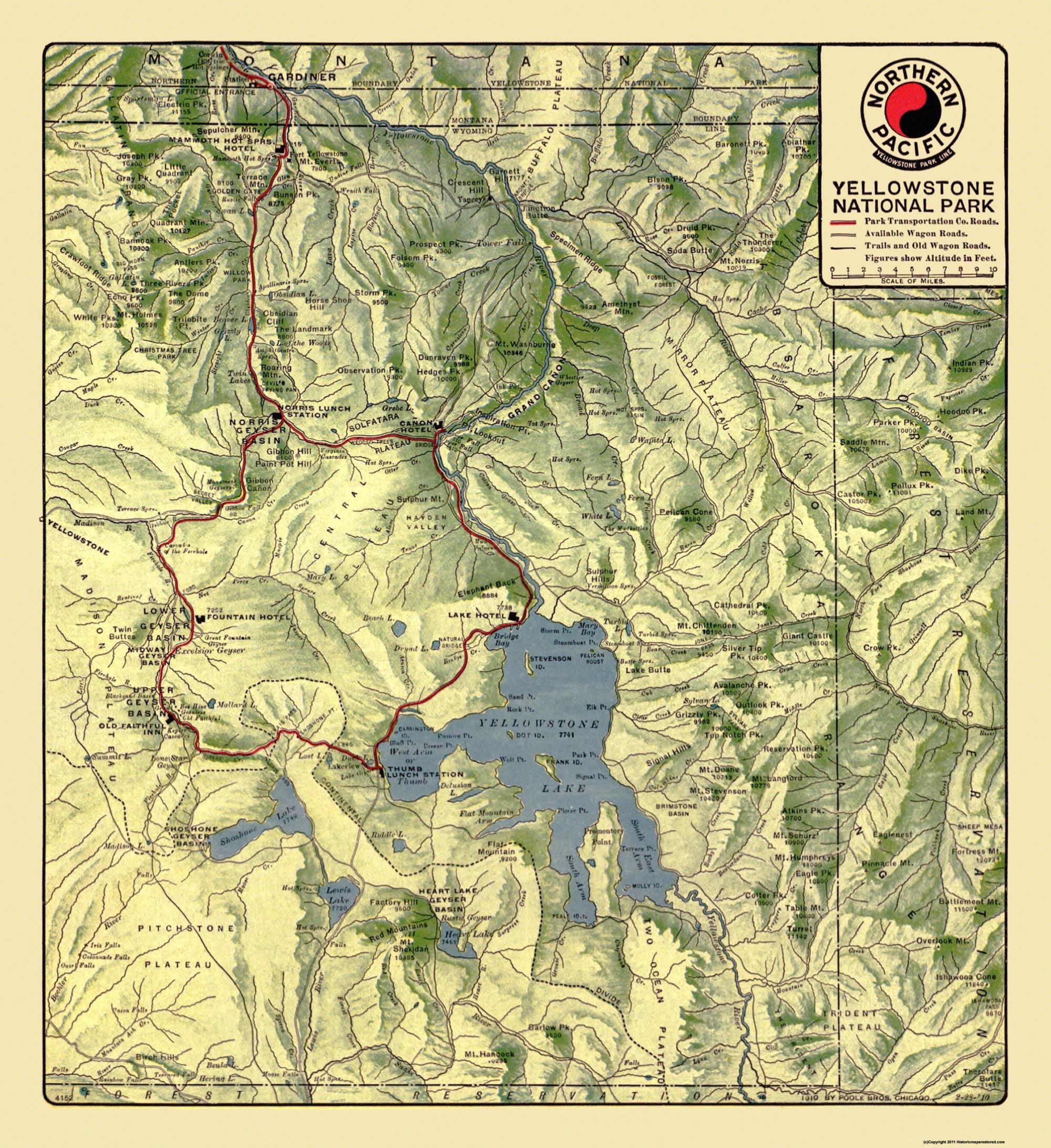 Old Railroad Map - Yellowstone National Park 1910