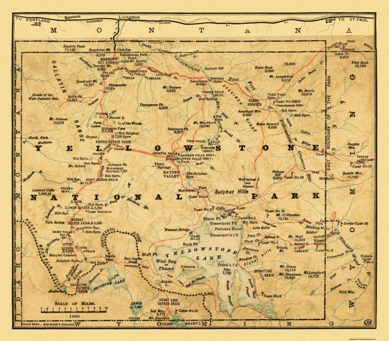 Old State Map - Yellowstone National Park, Wyoming - Poole 1880 - 26.19 x 23