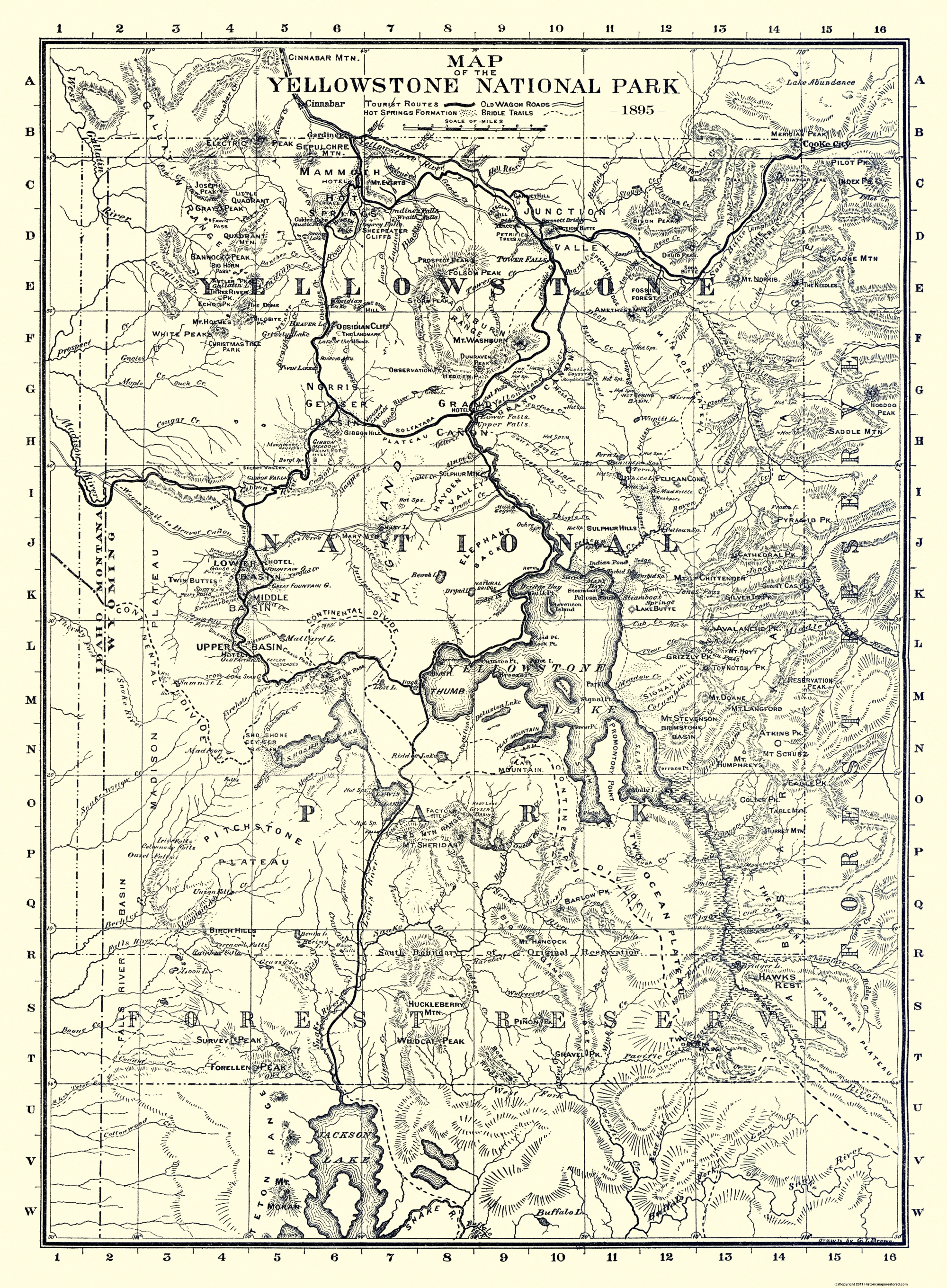 Old State Map - Yellowstone National Park 1895
