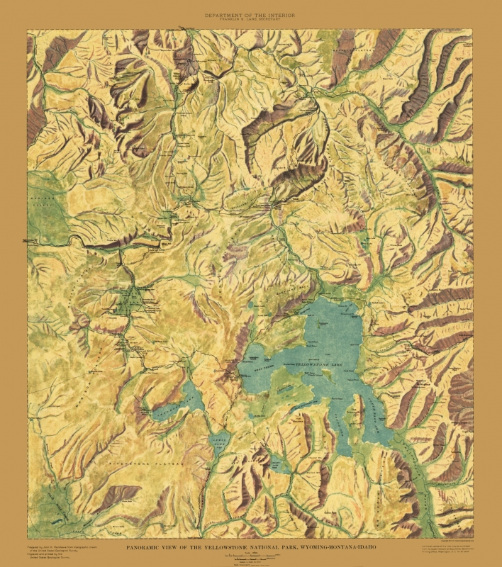 Topographical Map - Yellowstone National Park - USGS 1915 - 23 x 25.99