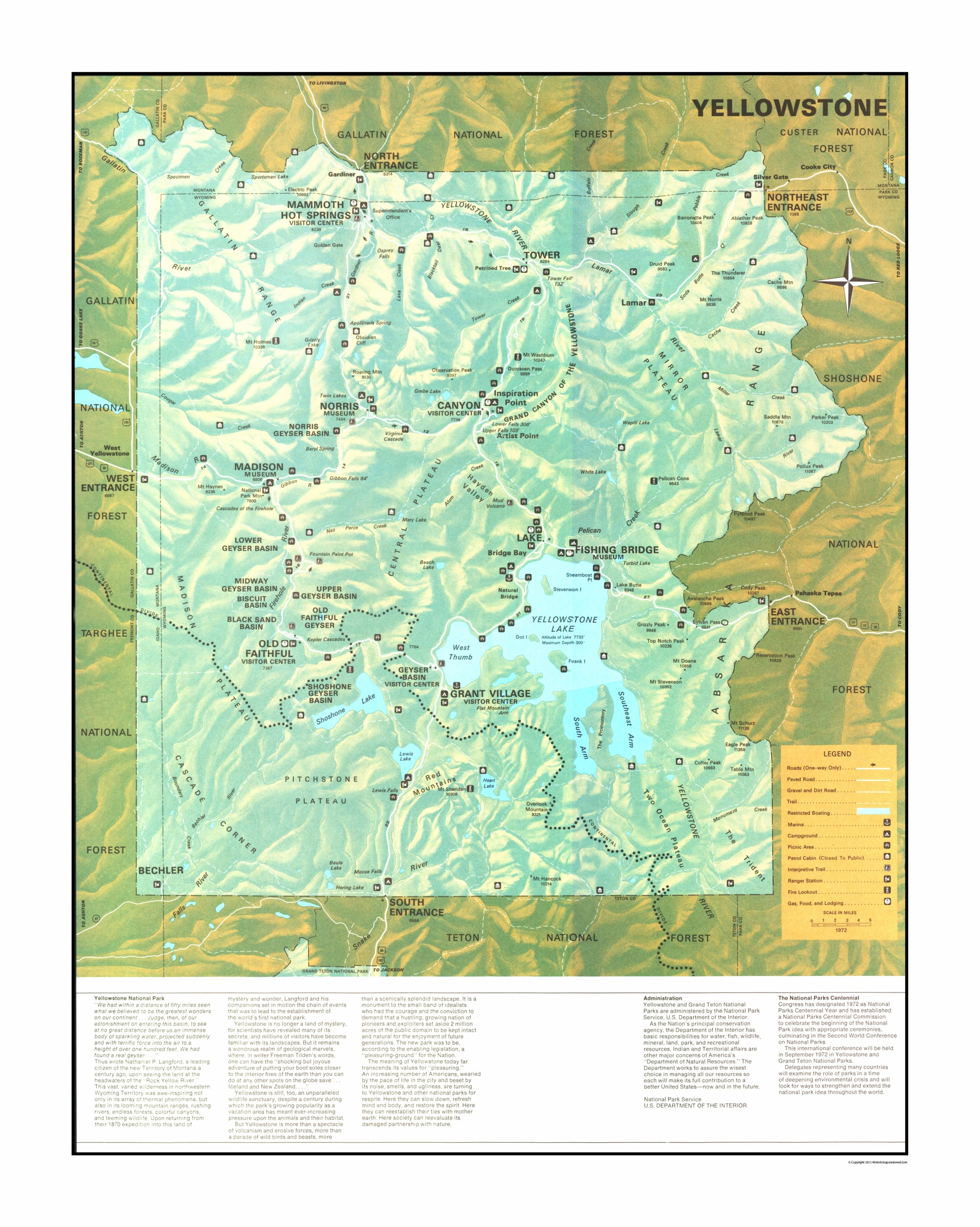 Old State Map - Yellowstone National Park - US Park Services 1972 - 23 x  28.77