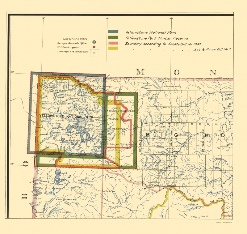 Old State Map - Yellowstone National Park Boundaries - 1895 - 23 x 24.31