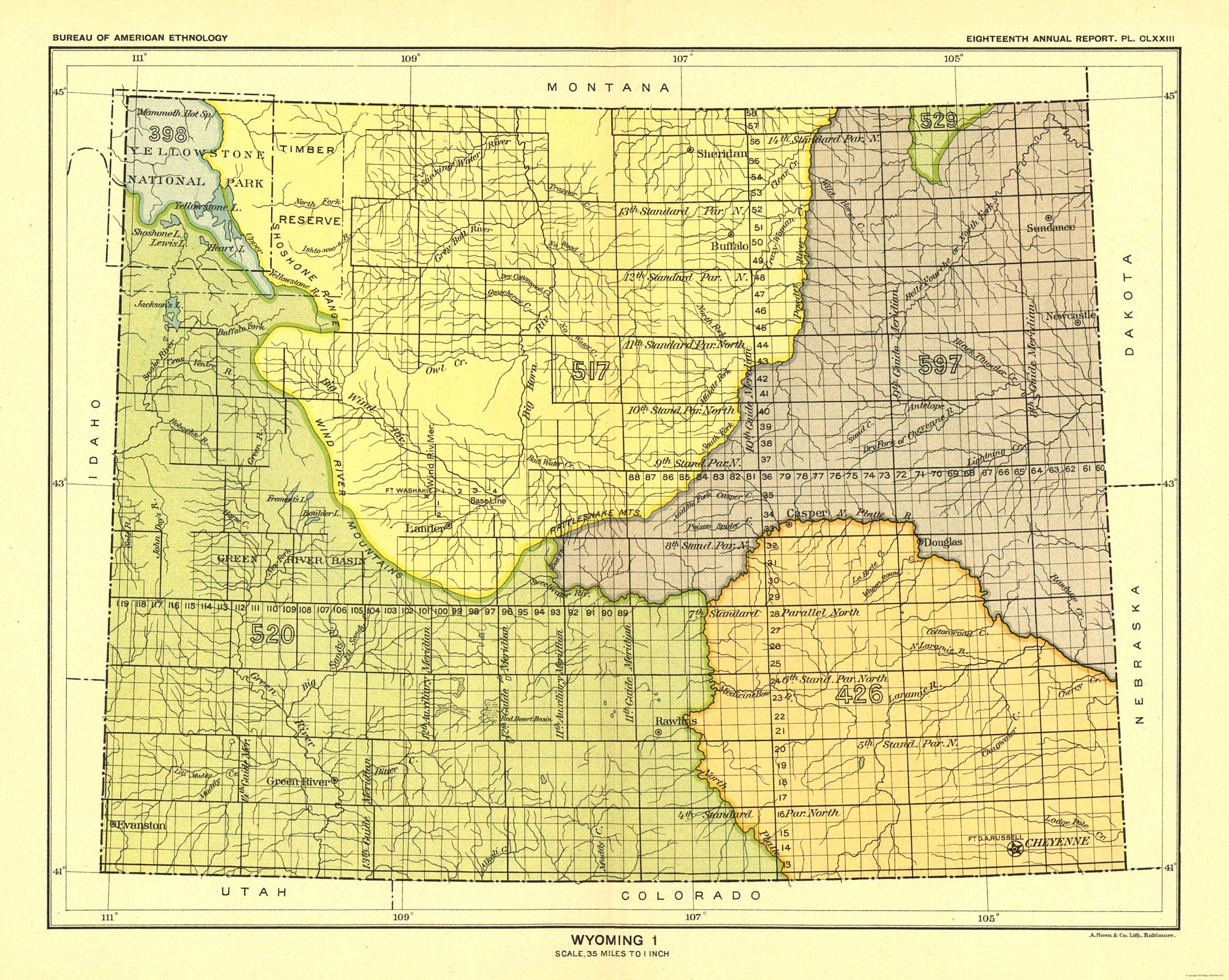 Old State Map - Wyoming - Yellowstone National Park - Hoen 1896 - 28.82 on park yellowstone river map, boiling river map, new york boundaries map, salt lake city boundaries map, illinois boundaries map, seattle boundaries map, texas boundaries map, flathead indian reservation boundaries map, las vegas boundaries map, massachusetts boundaries map, hollywood boundaries map, state time zone map, united states boundaries map, phoenix boundaries map, madison junction yellowstone ranger station map, new mexico boundaries map, california boundaries map, pennsylvania boundaries map,