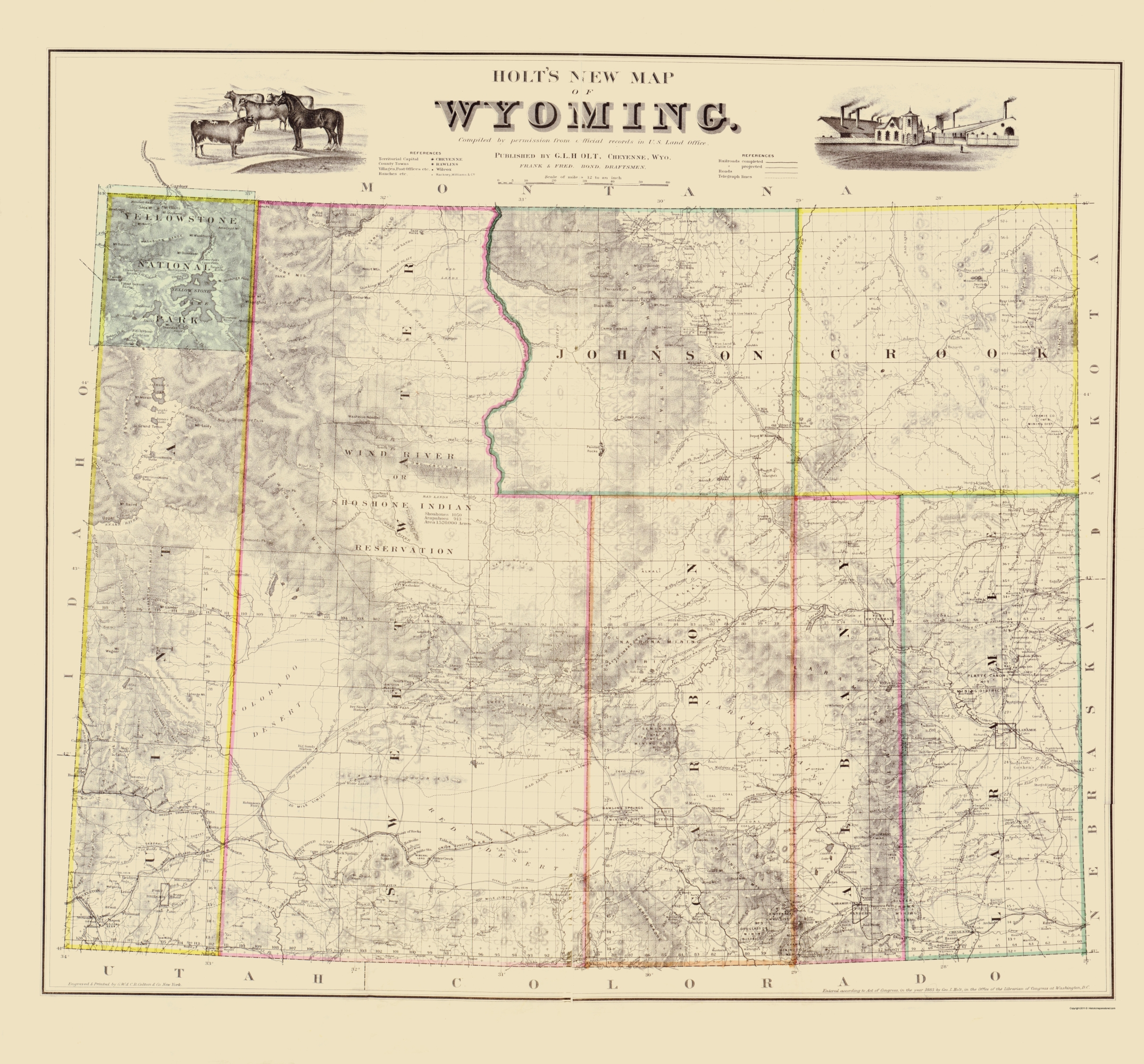 Old Map Wyoming Holt 1883