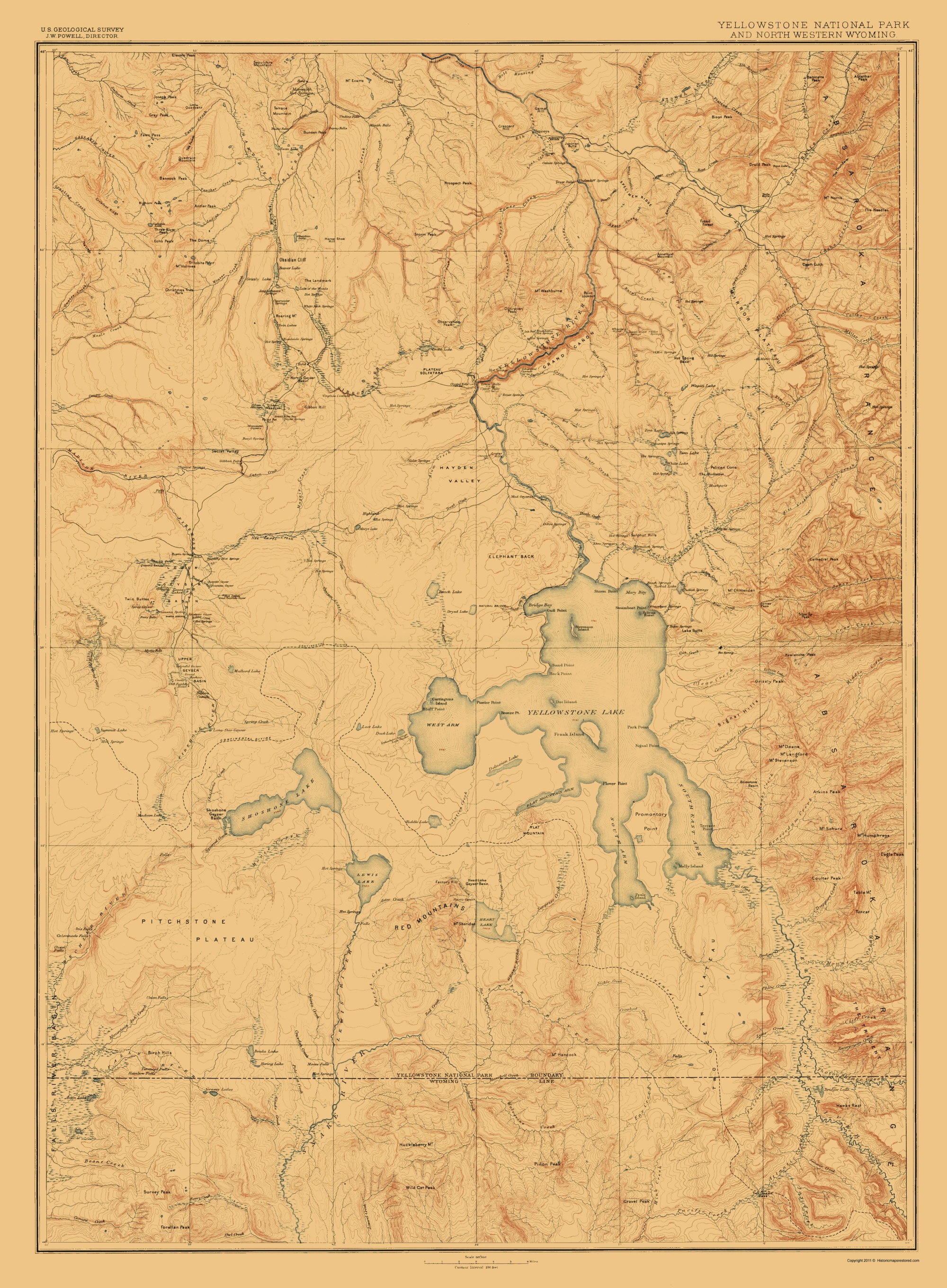 Old Topographical Map - Yellowstone National Park 1885