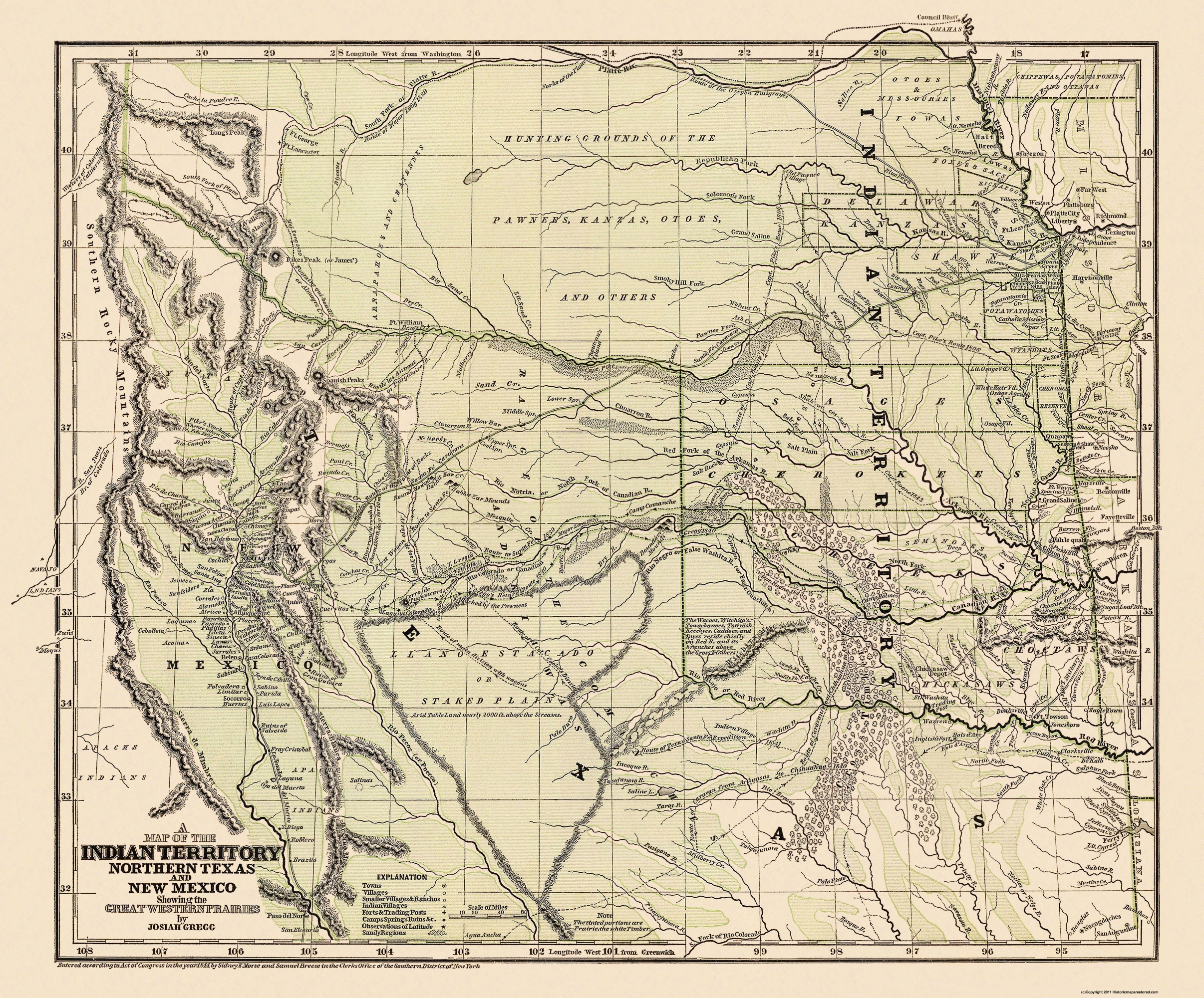 Map Of Texas New Mexico.Old State Map Indian Territory Texas New Mexico 1844 27 75 X 23