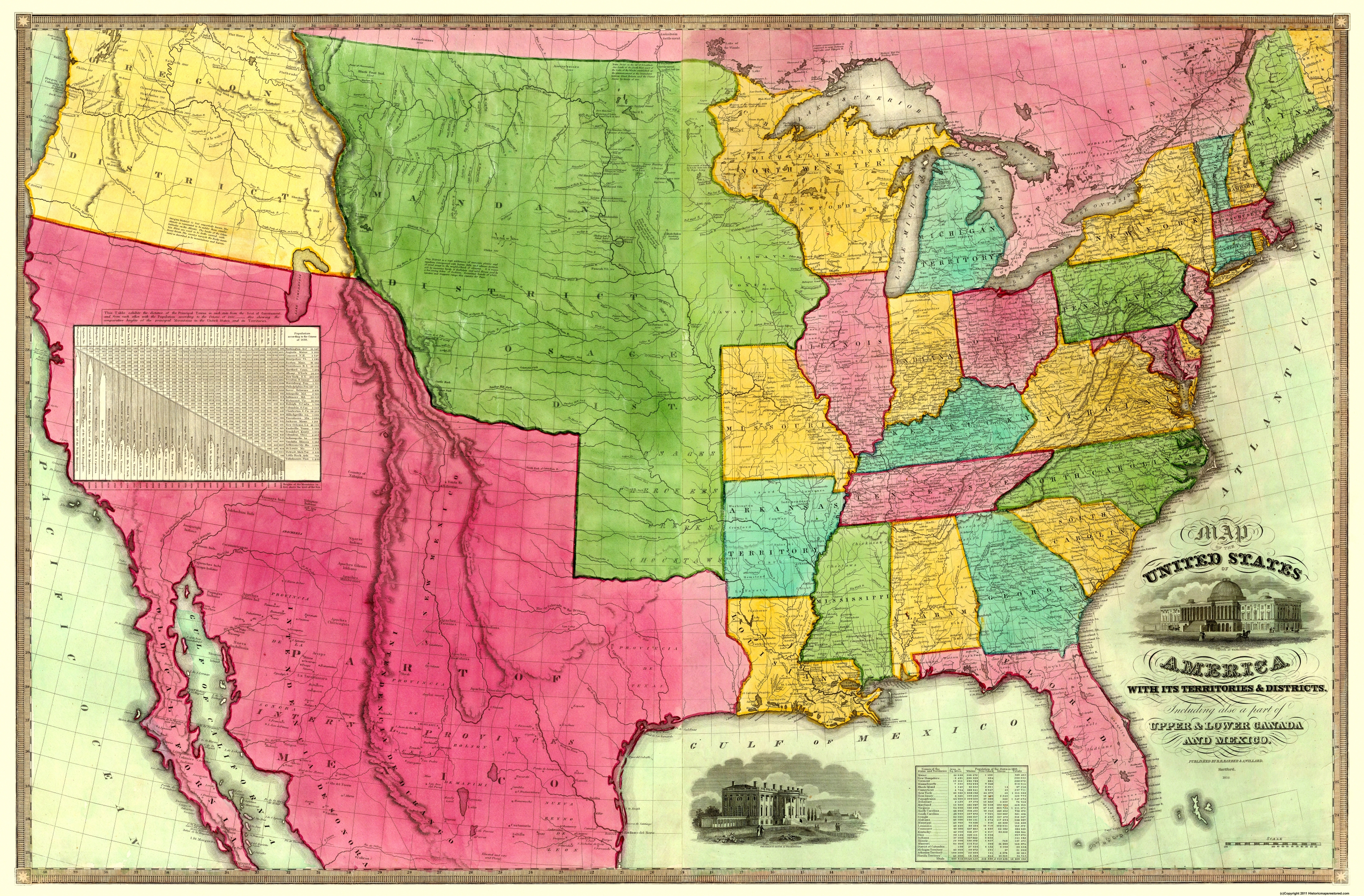 Picture of: Old Map United States Territories Districts 1835