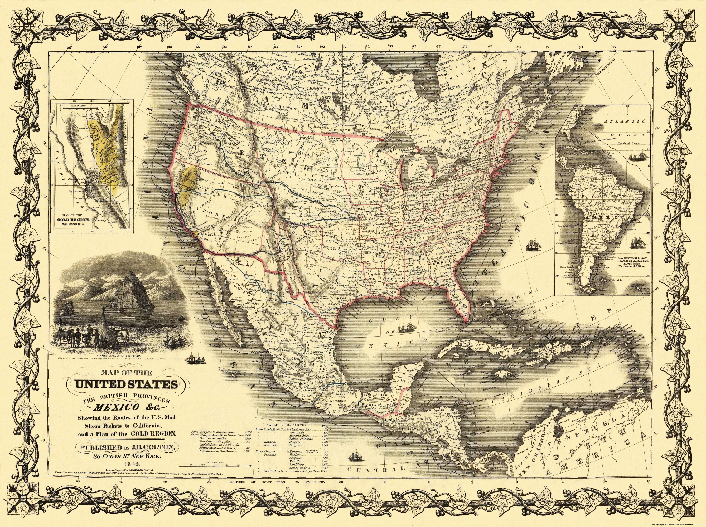 Old State Map - United States, Mexico - Colton 1849