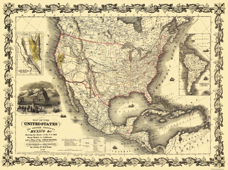 Old State Map - United States, Mexico - Colton 1849 - 30.81 x 23