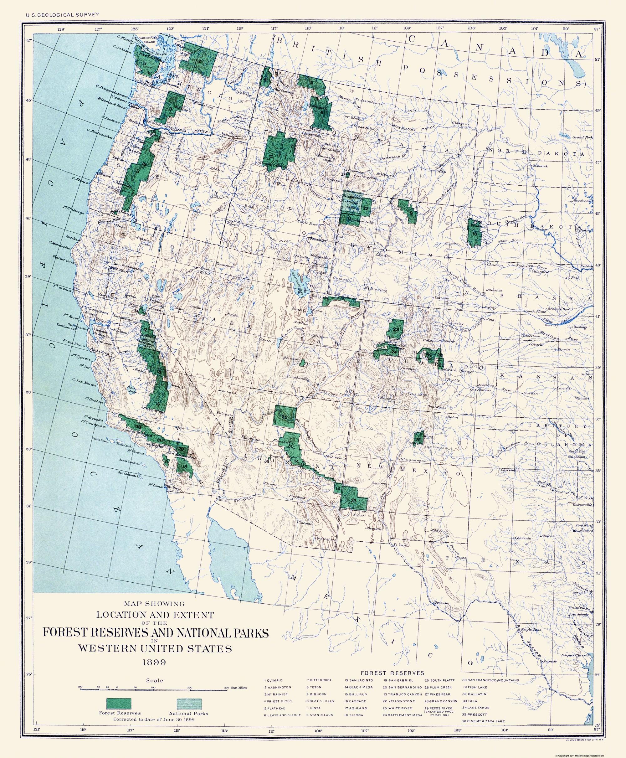 Old Map Western Forest Reserves National Parks - Western us map with national parks